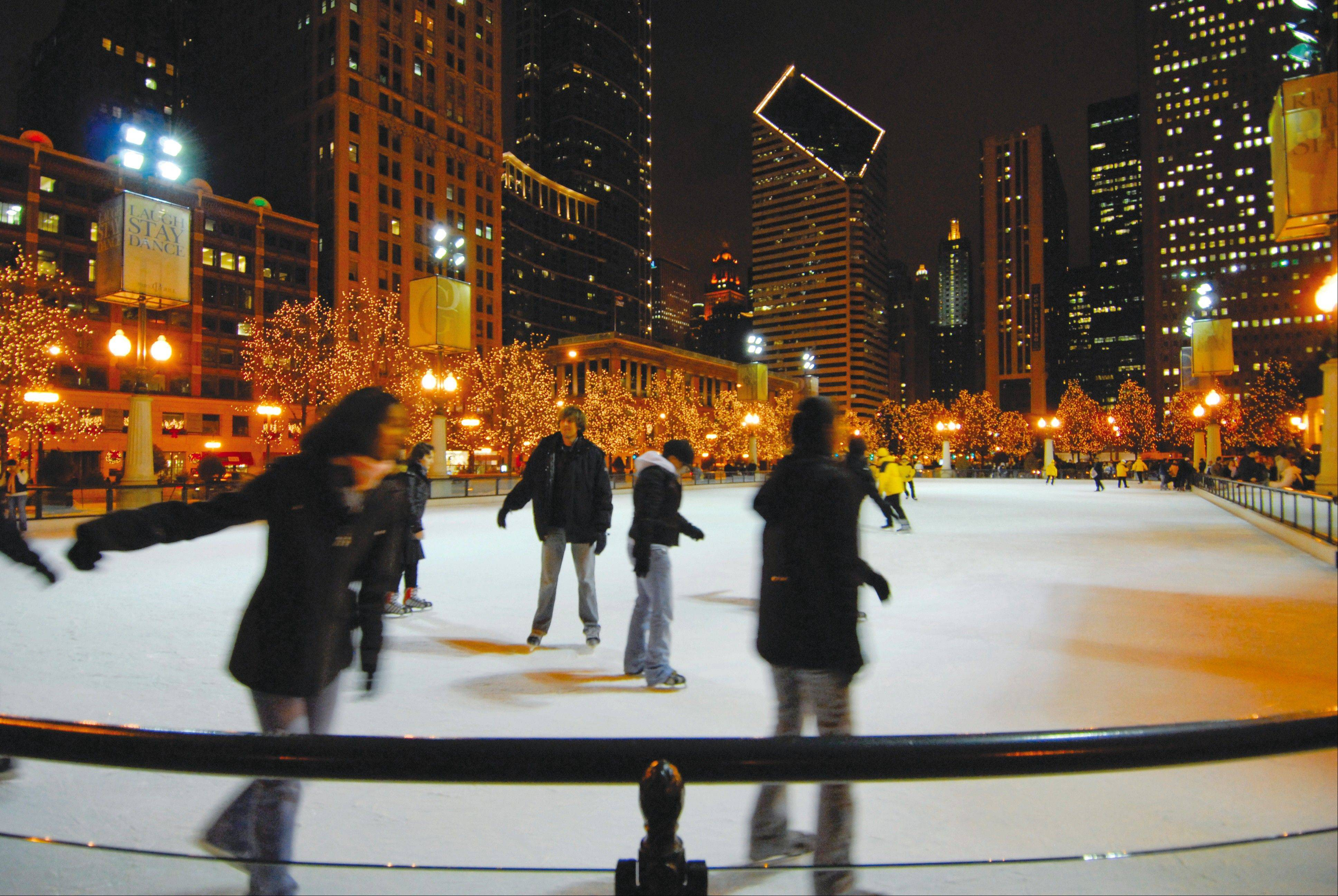 The McCormick Tribune Ice Rink at Chicago's Millennium Park offers skaters more than 15,000 feet of ice.