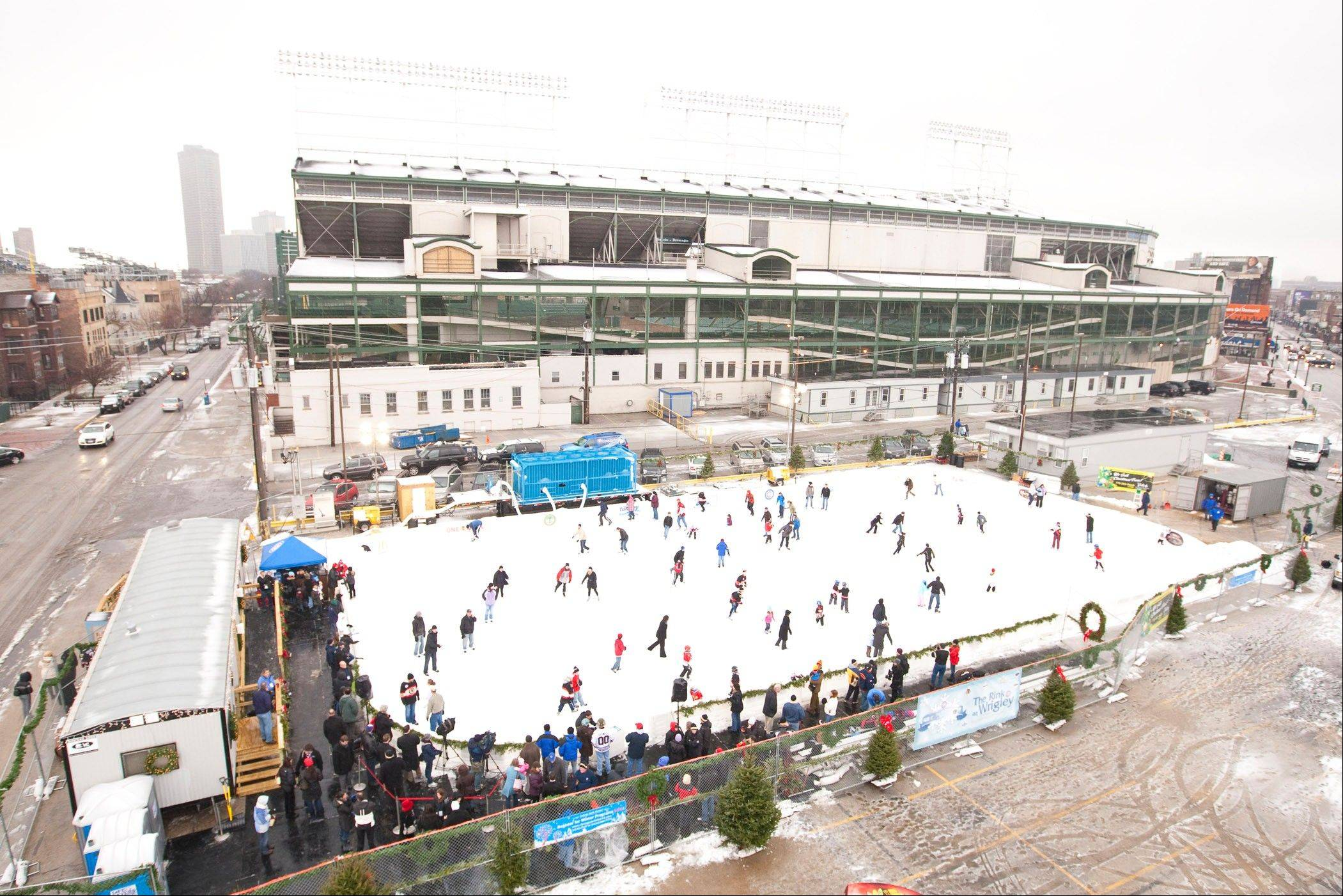 "Ice skate just outside of the ""friendly confines"" of Chicago's Wrigley Field."