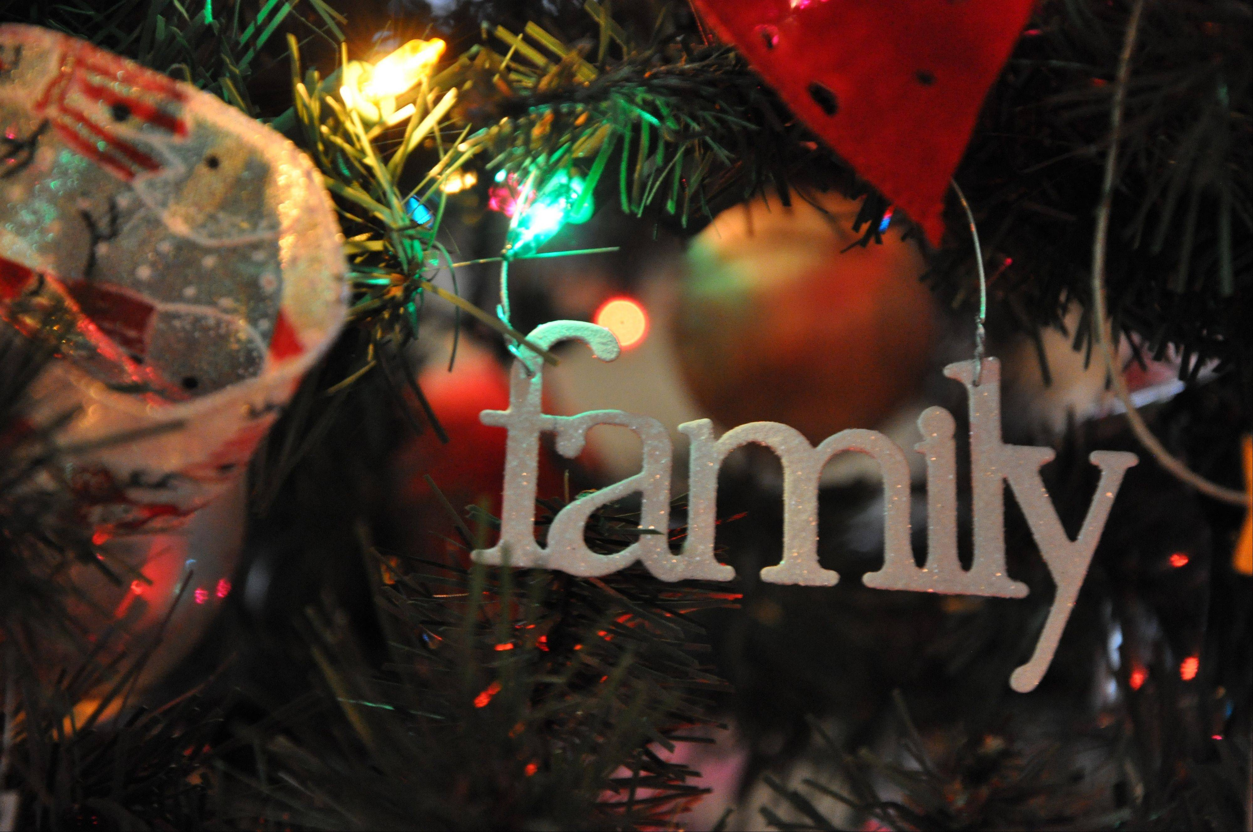 "The word ""family"" is one of the decorations on the Metropolitan Family Services tree."