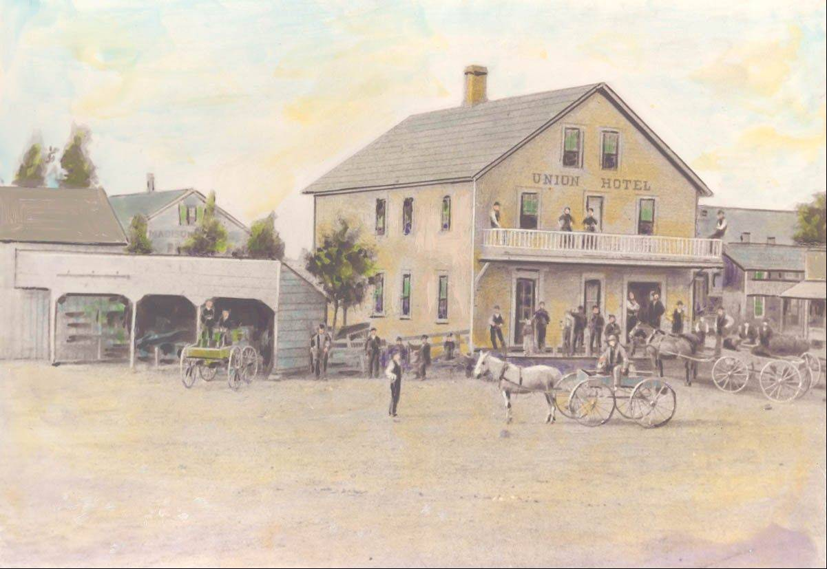 In the 1860s, the Union Hotel in downtown Dunton, Ill., faced Myrtle Avenue. This picture was taken from what today is Dunton and Davis. The photograph was hand outlined and colored, giving it the look of a drawing.