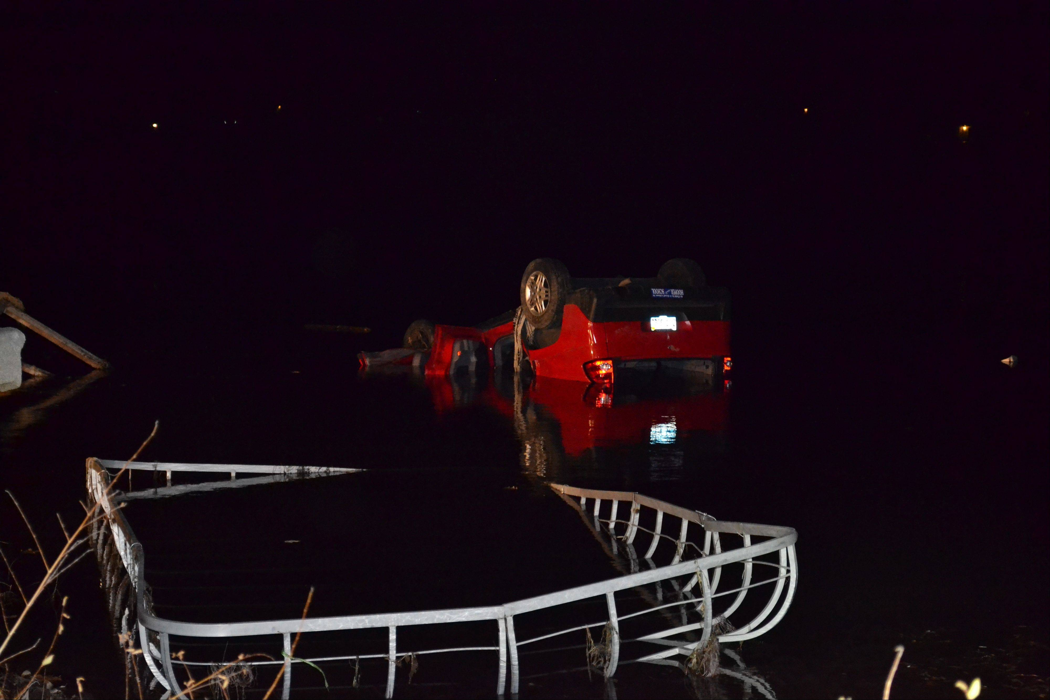 A Pontiac Aztek SUV left the road early Friday and ended up in Lake Miltmore. The driver, Nicholas Bonilla, 18, of Lindenhurst was trapped in the vehicle and drowned, officials said.