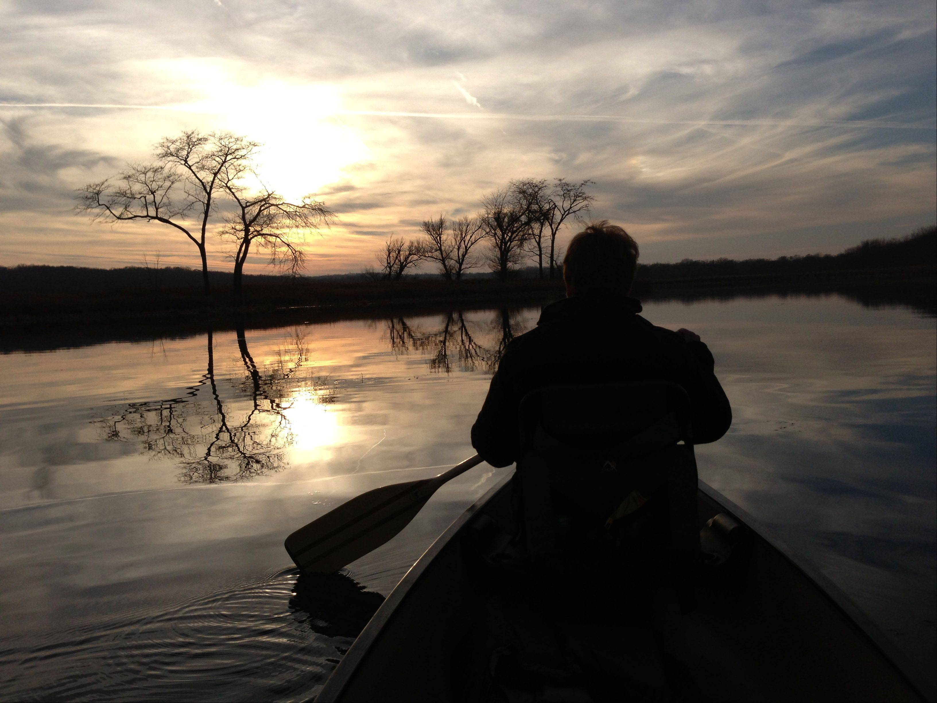 This photo is taken on the Fox River near Cary. We took a late afternoon paddle and watched the sunset. Peaceful.