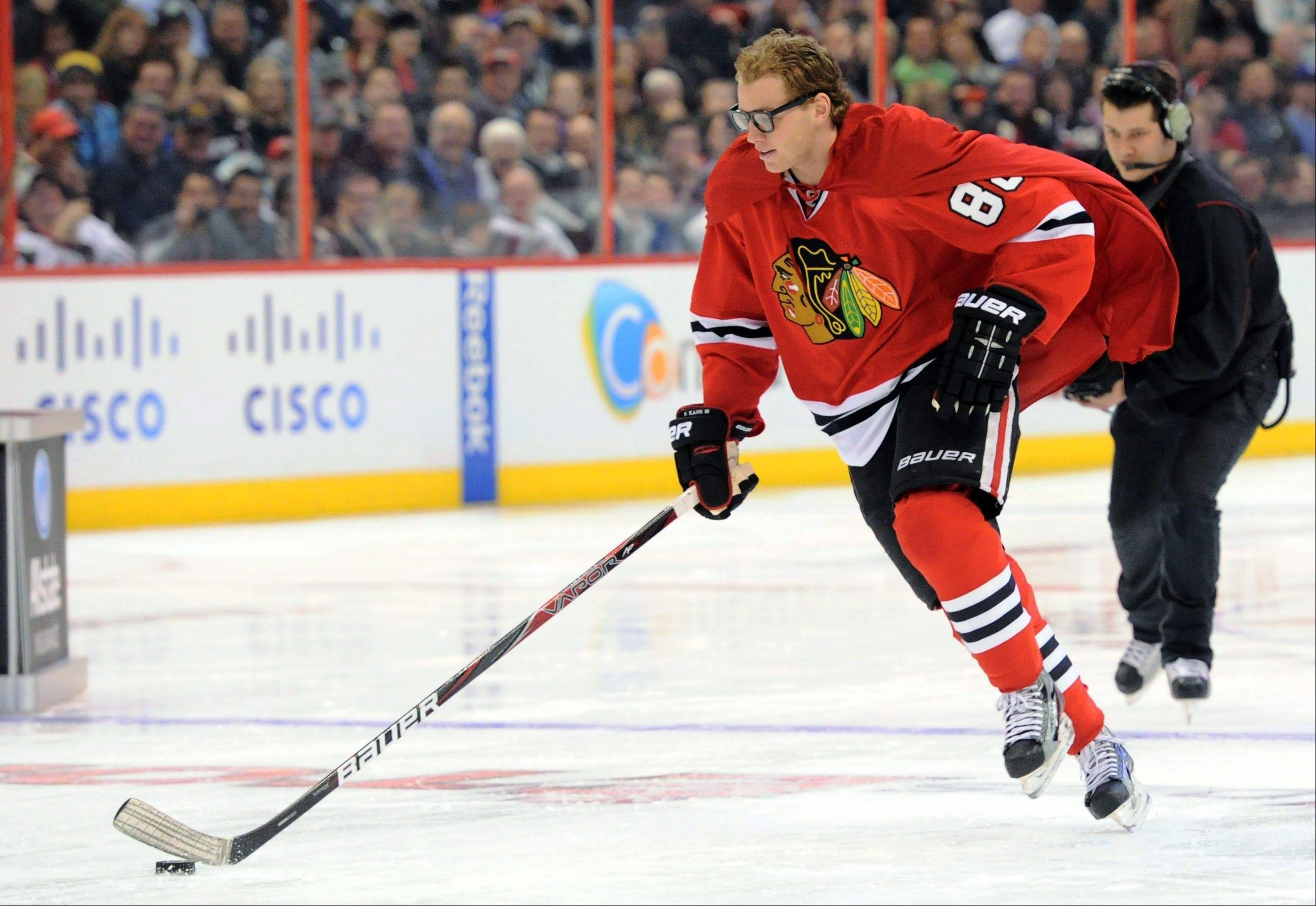 Patrick Kane of the Chicago Blackhawks had a lot of fun wearing a cape atthe NHL All-Star skills hockey competition in Ottawa, Ontario, last January. On Friday, the league canceled the 2013 game in Columbus.