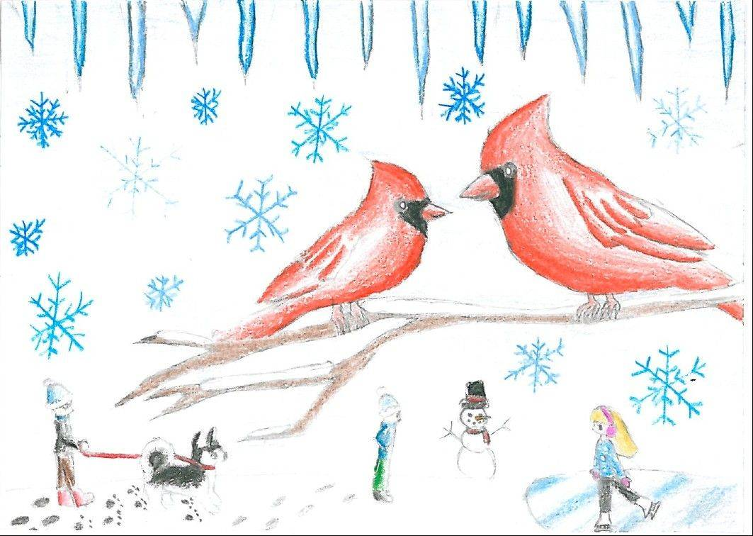 First place card designed for the District 62 Winter Card Design Contest by Algonquin Middle School eighth-grader Theresa Li.