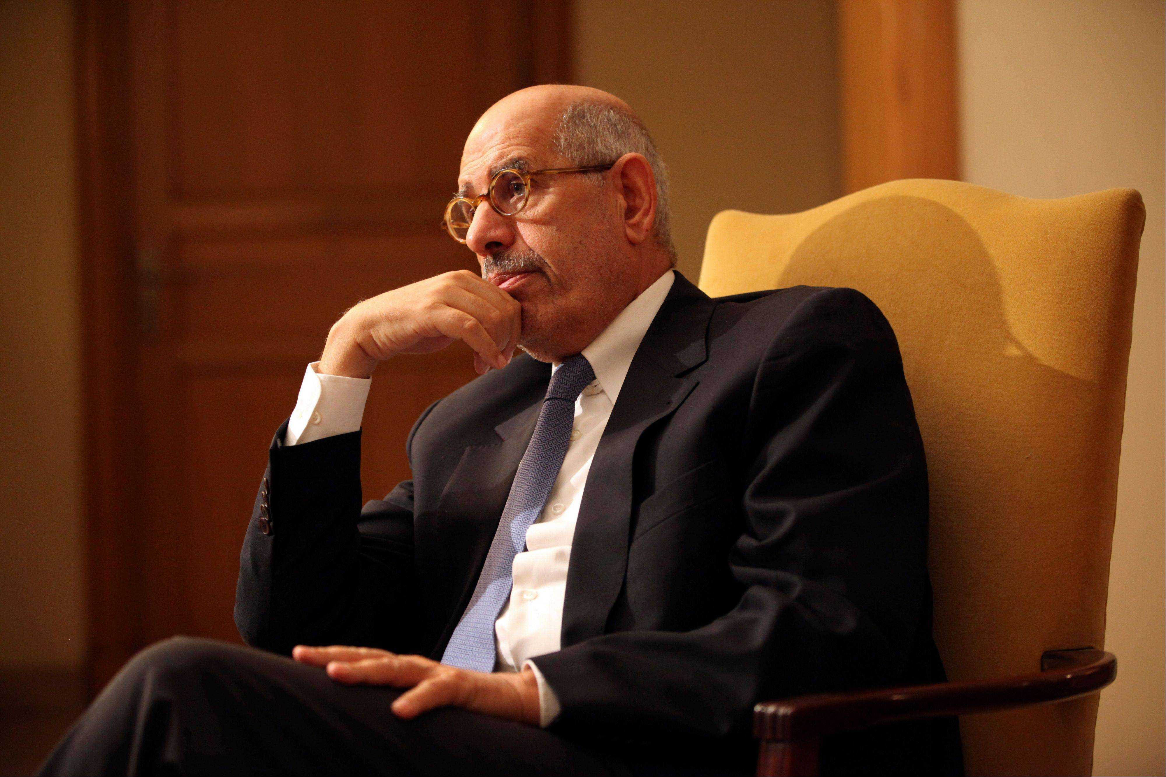Leading democracy advocate Mohammed ElBaradei speaks Saturday to a handful of journalists, saying dialogue with Egypt�s Islamist president is not possible until he rescinds his decrees giving himself near absolute powers, at his home on the outskirts of Cairo, Egypt.