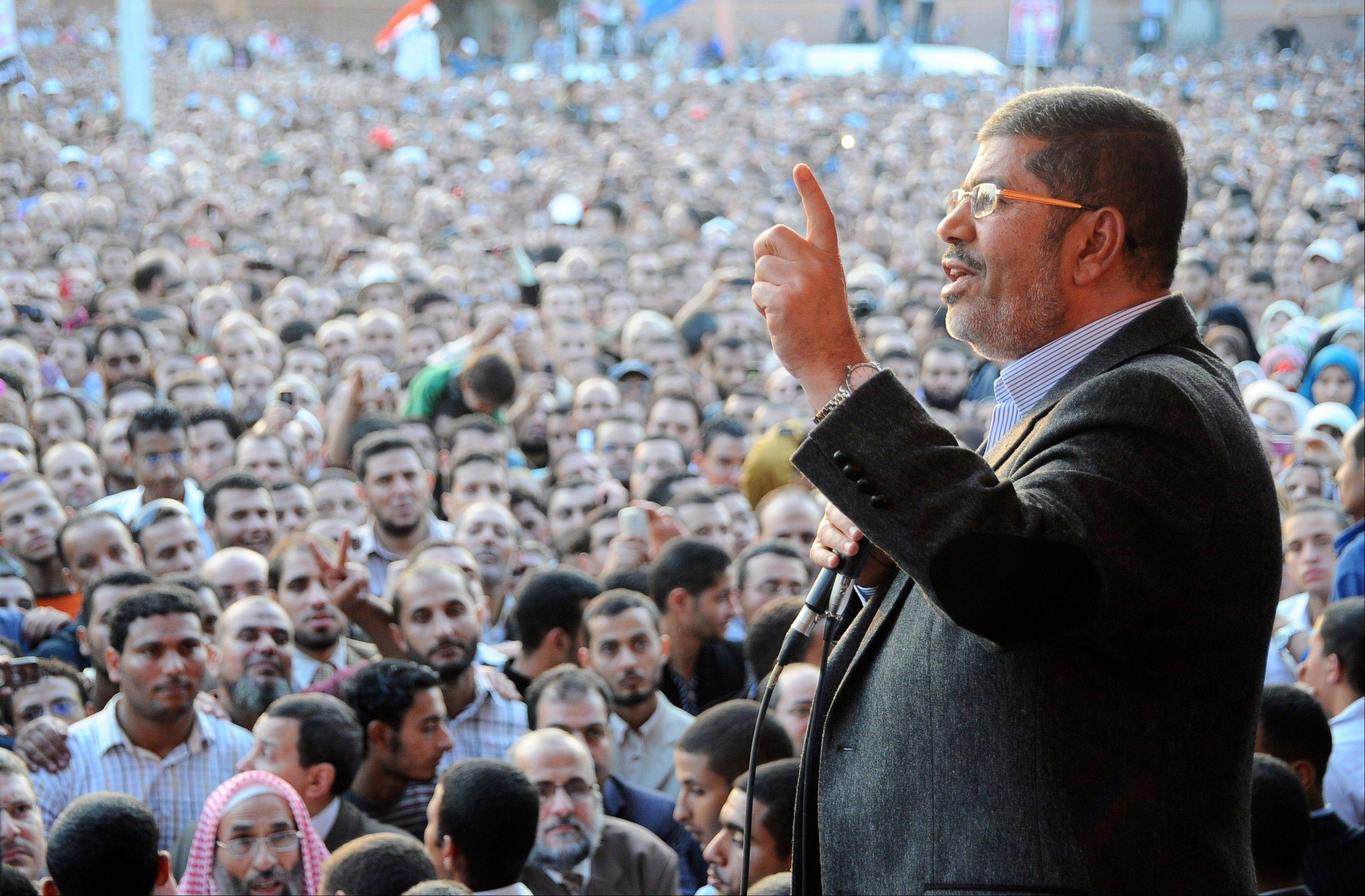 On Friday, Nov. 23, Egyptian President Mohammed Morsi speaks to supporters outside the Presidential palace in Cairo. Egypt�s official news agency says that the country�s highest body of judges has called the president�s recent decrees an �unprecedented assault on the independence of the judiciary and its rulings.�