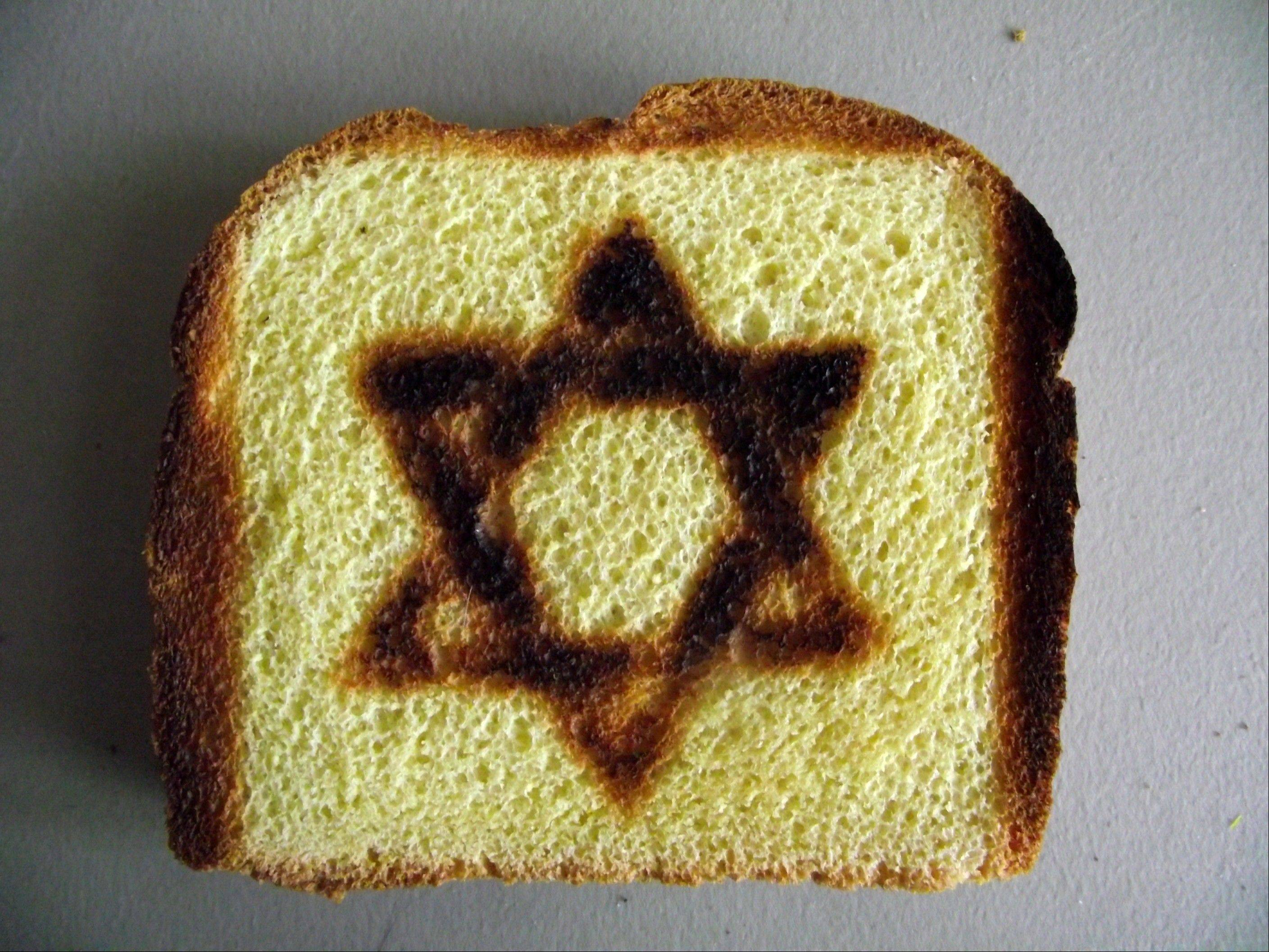 Toast with a Star of David symbol burned into it is made by a specialty Star of David Toaster.