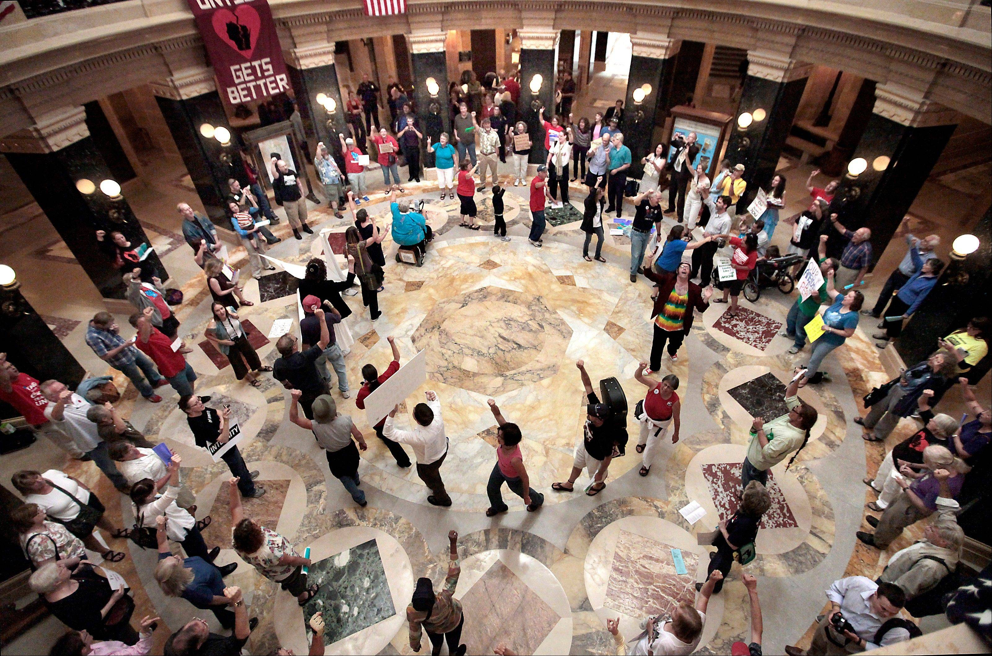 Associated Press/Sept. 7Dozens of singers gather in the state Capitol rotunda for the 455th consecutive Solidarity sing along in the wake of a crackdown on protests without a permit by new Capitol Police Chief David Erwin.