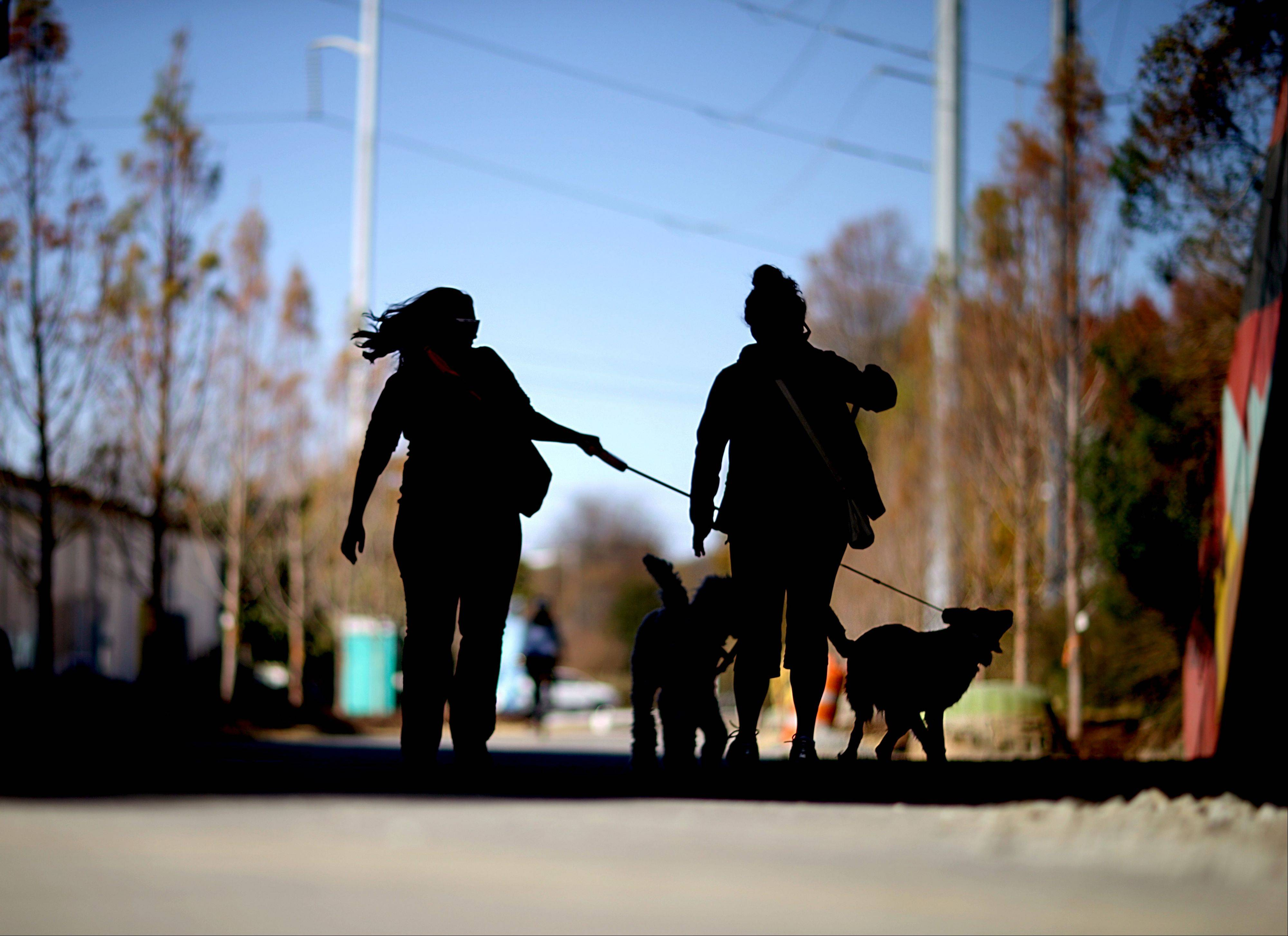 Pedestrians walk their dogs Tuesday along the Atlanta BeltLine in Atlanta.