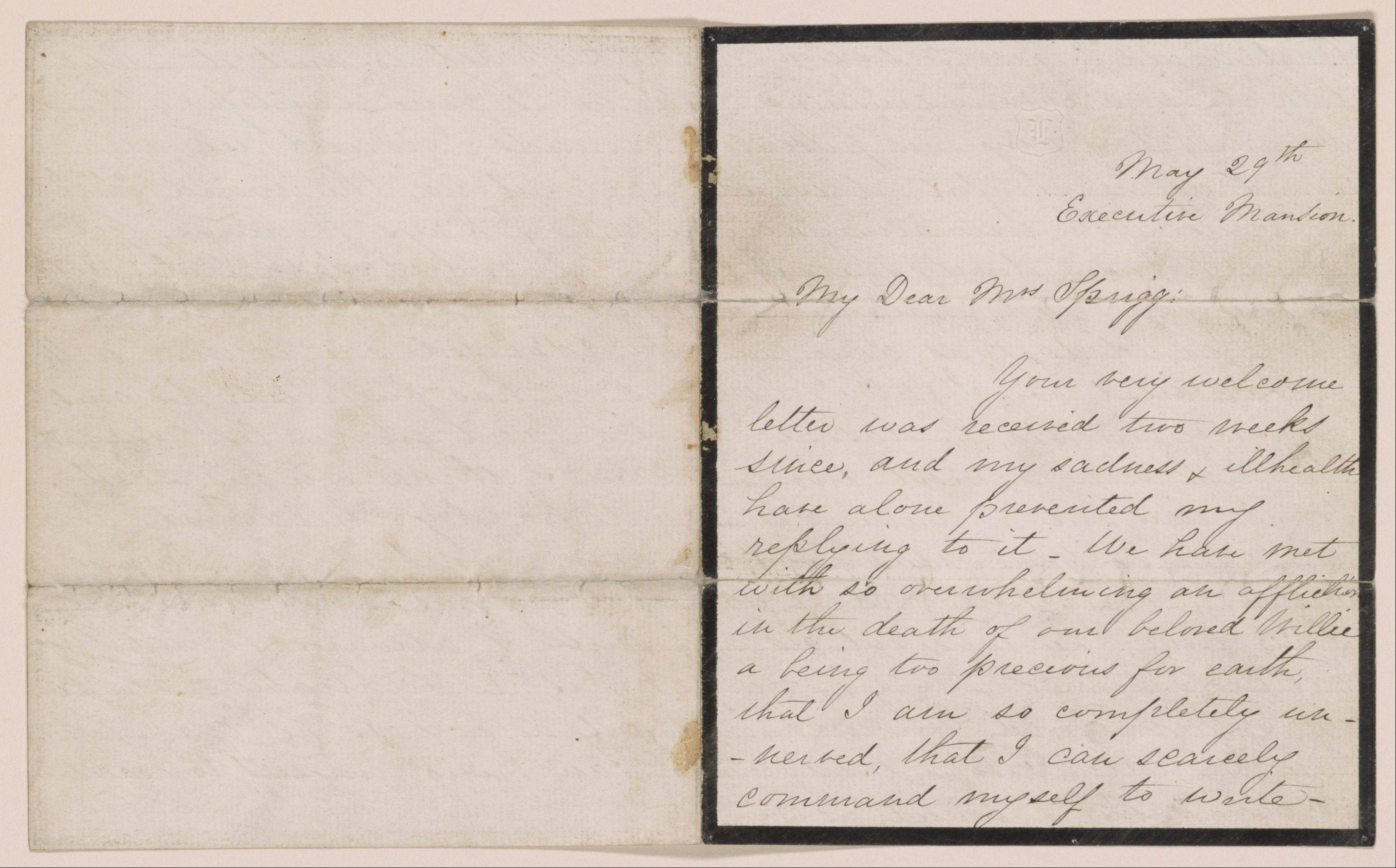 A letter written by Mary Todd Lincoln to Julia Ann Sprigg, May 29, 1862.