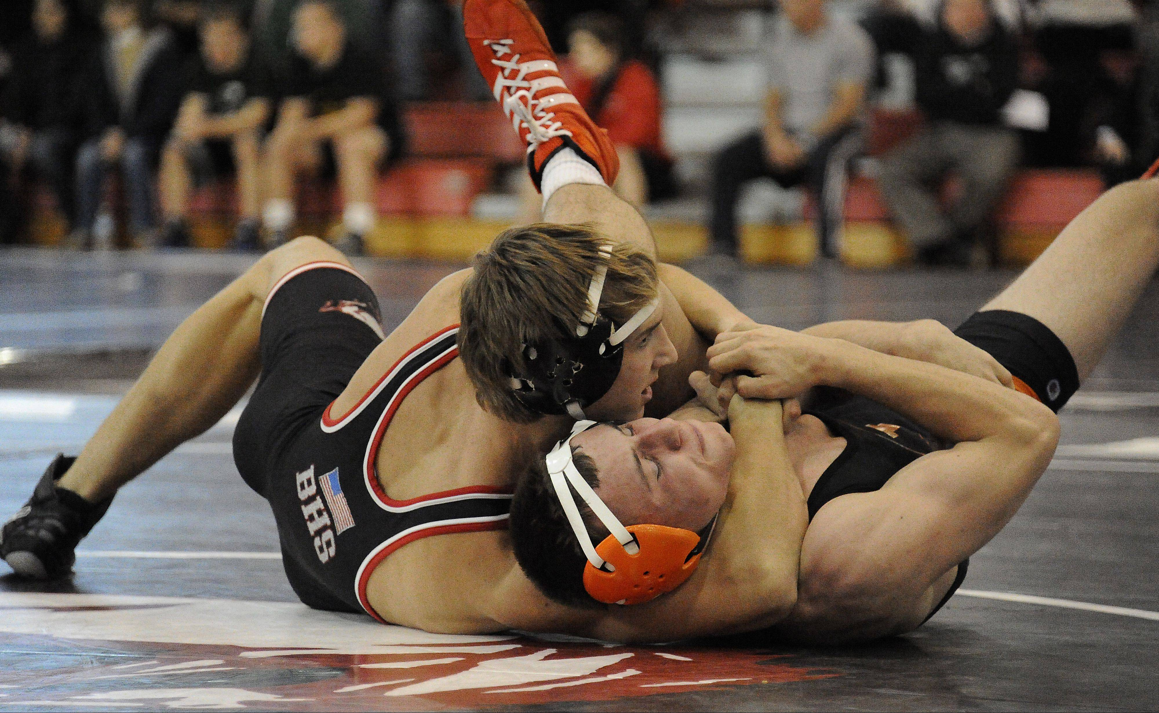 Coord Wiseman of Barrington gets the pin against Joey Gunther of Libertyville at 145 pounds during the 22nd Annual Moore/Prettyman Wrestling Invitational at Barrington High School on Saturday.