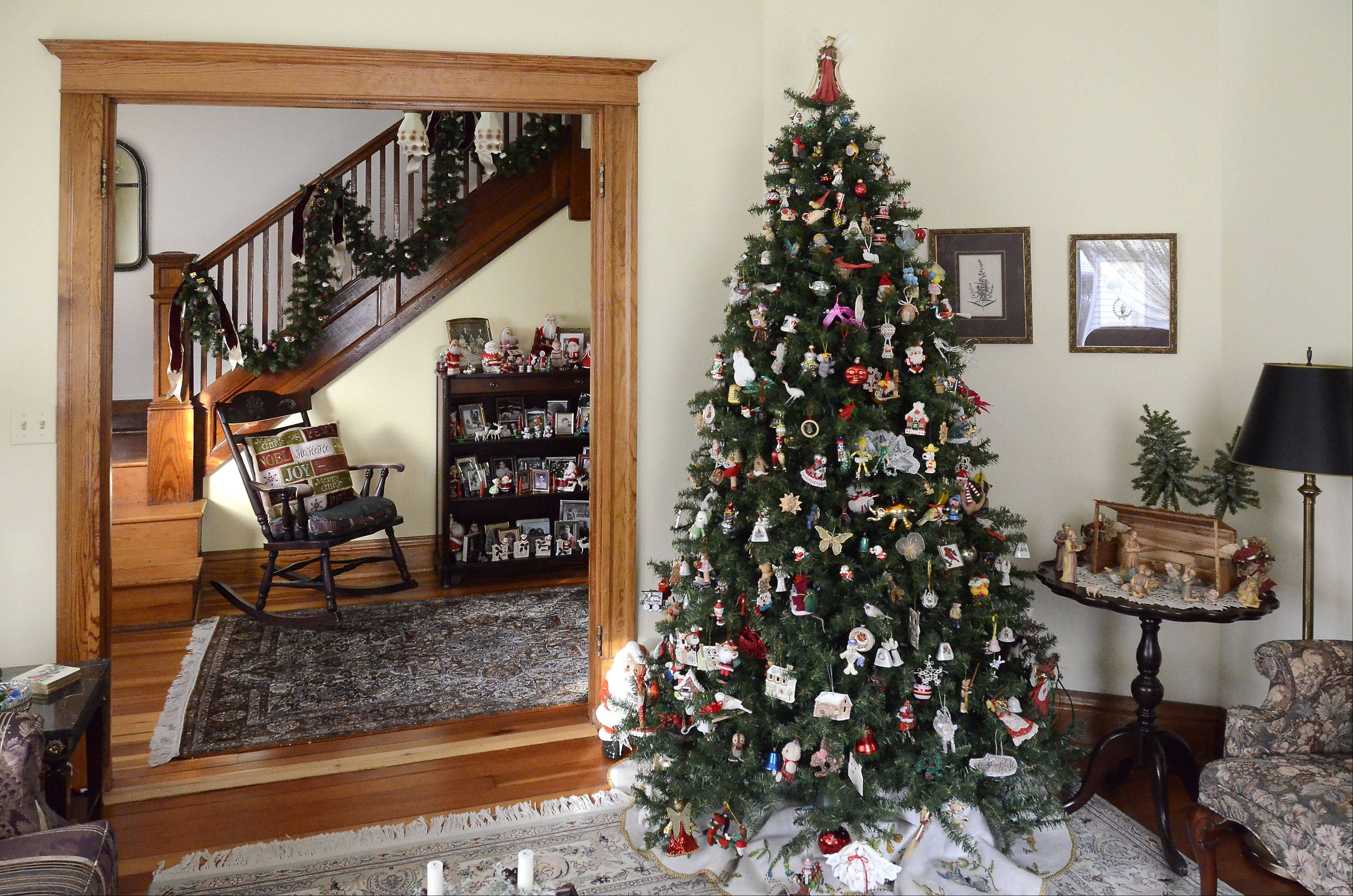 The living room of the Waters family home is decorated for the holidays and the annual housewalk.