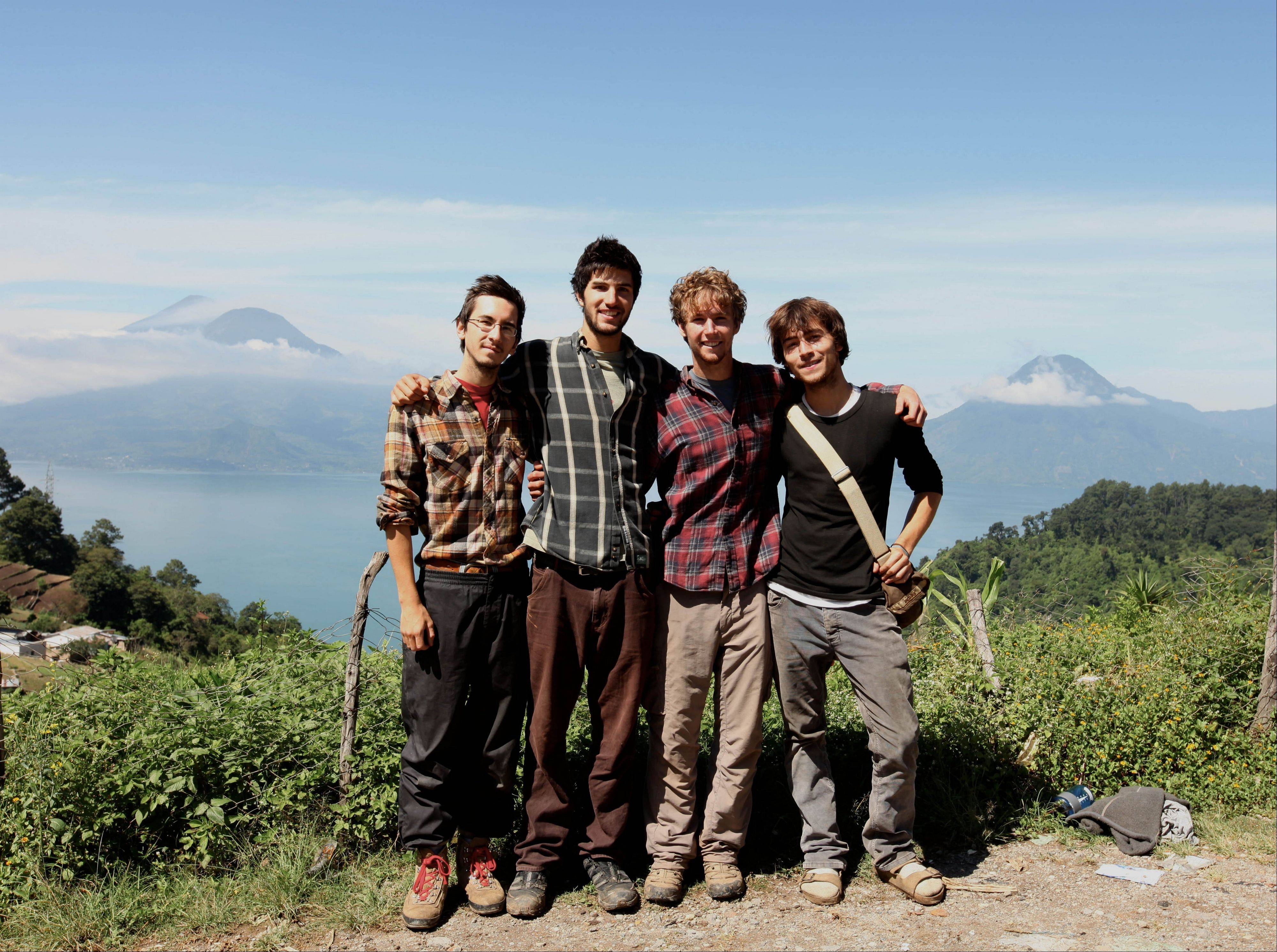 Sean Leonard, left, Zach Ingrasci, Chris Temple and Ryan Christoffersen in Pena Blanca, Guatemala. The foursome lived in the village on $1 a day per person for a summer to experience firsthand issues related to rural poverty, then made a film about their experiences.