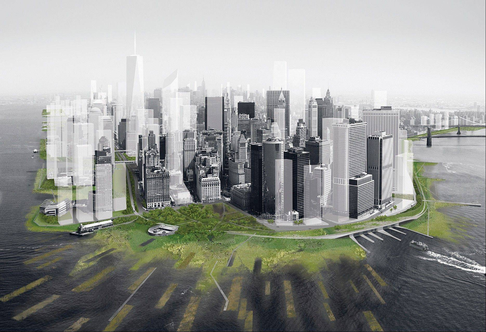 This artist�s rendering shows a proposed perimeter wetlands and an archipelago of man-made barrier islets on New York�s Manhattan island, designed to absorb the brunt of a huge storm surge. The concept was worked up by DLANDSTUDIO and Architecture Research Office, two city architectural firms, for a museum project.