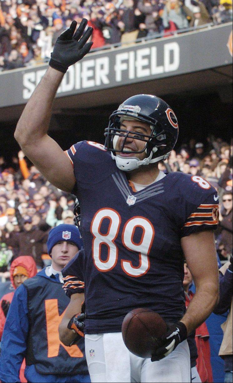 Chicago Bears tight end Matt Spaeth celebrates his second-quarter touchdown against the Minnesota Vikings at Soldier Field Sunday.