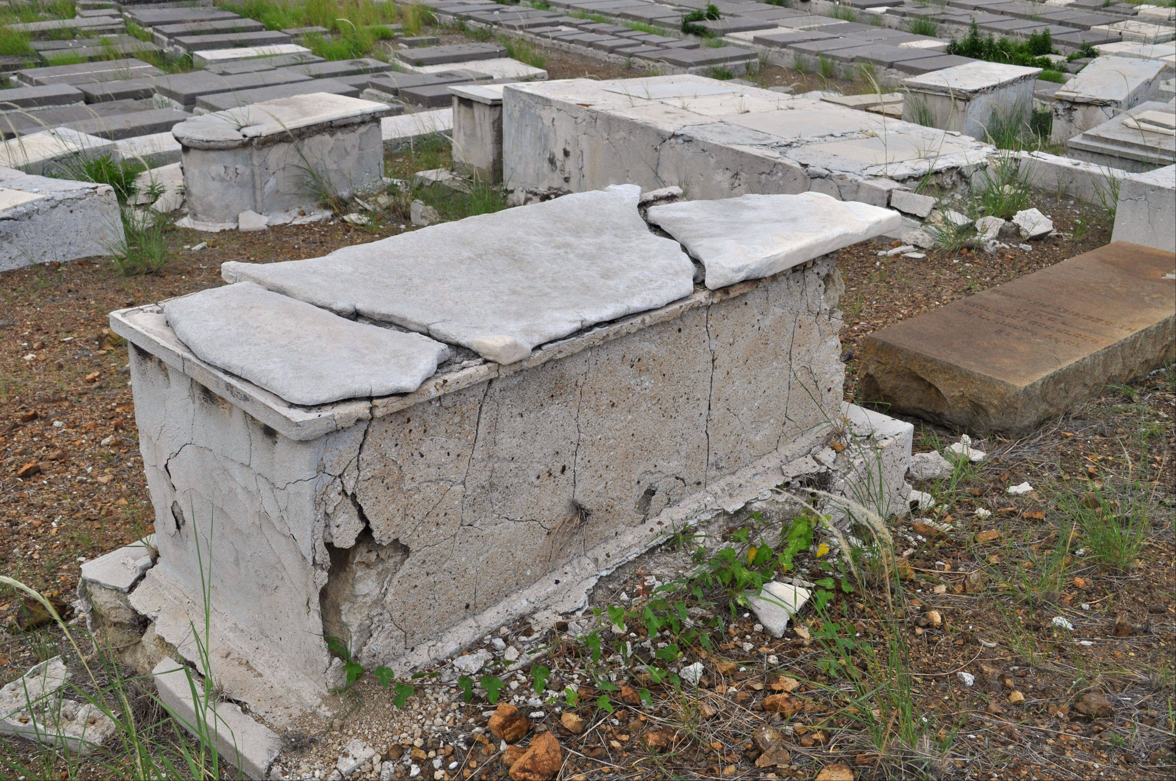 A crumbling tomb stands in the Beth Haim cemetery in Blenheim on the outskirts of Willemstad, Curacao.