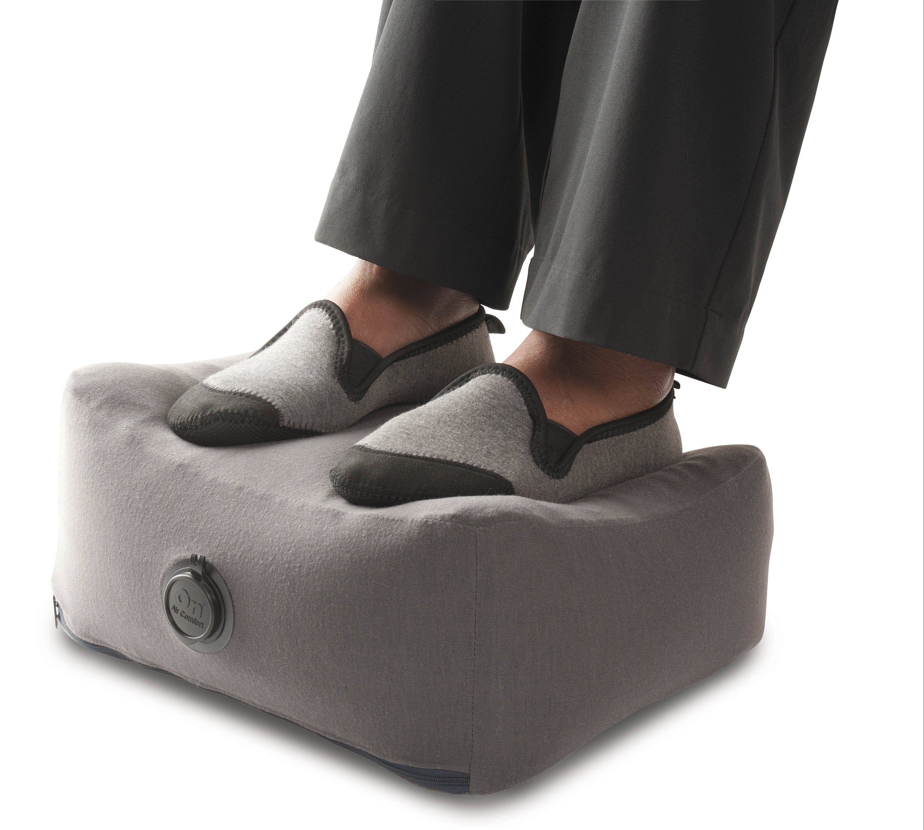 An inflatable footrest is popular among air travelers. Magellans also sells a style of footrest made from lightweight hard plastic that folds flat.