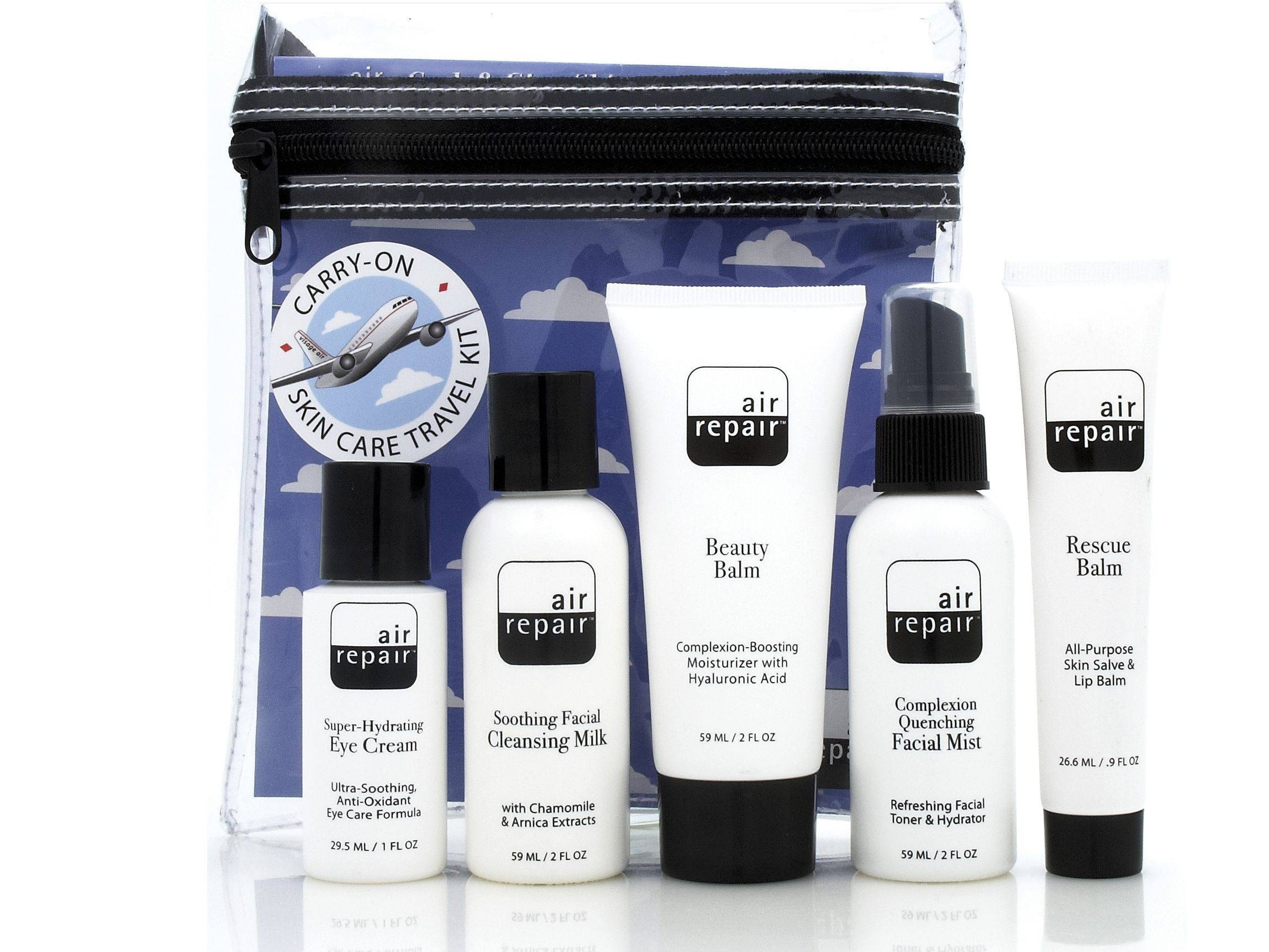 The Air Repair Kit includes skin care products designed for travelers in sizes that are permitted in carry-on luggage.