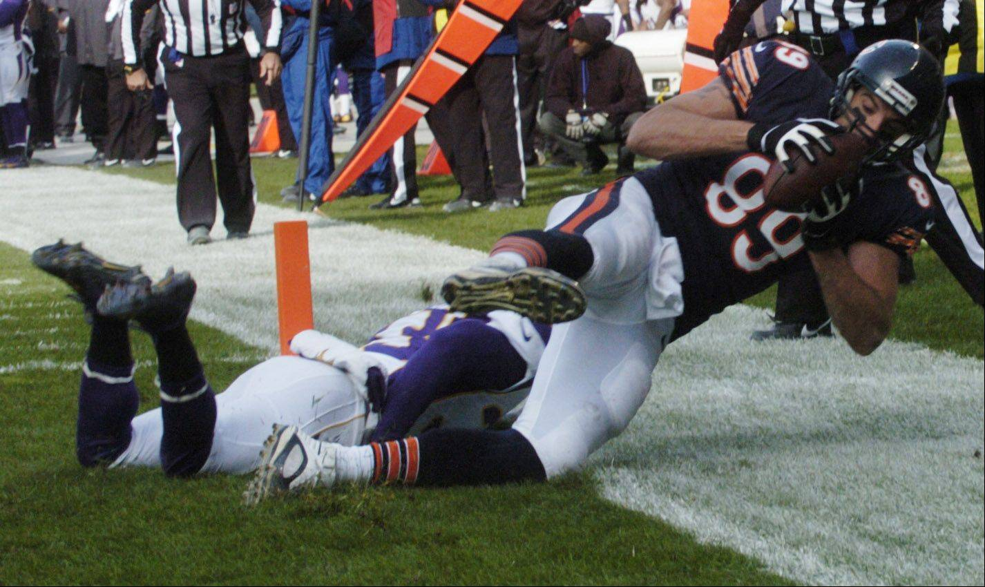JOE LEWNARD/jlewnard@dailyherald.comChicago Bears' tight end Matt Spaeth makes a second-quarter touchdown catch against the Minnesota Vikings' Jamarca Sanford at Soldier Field Sunday.