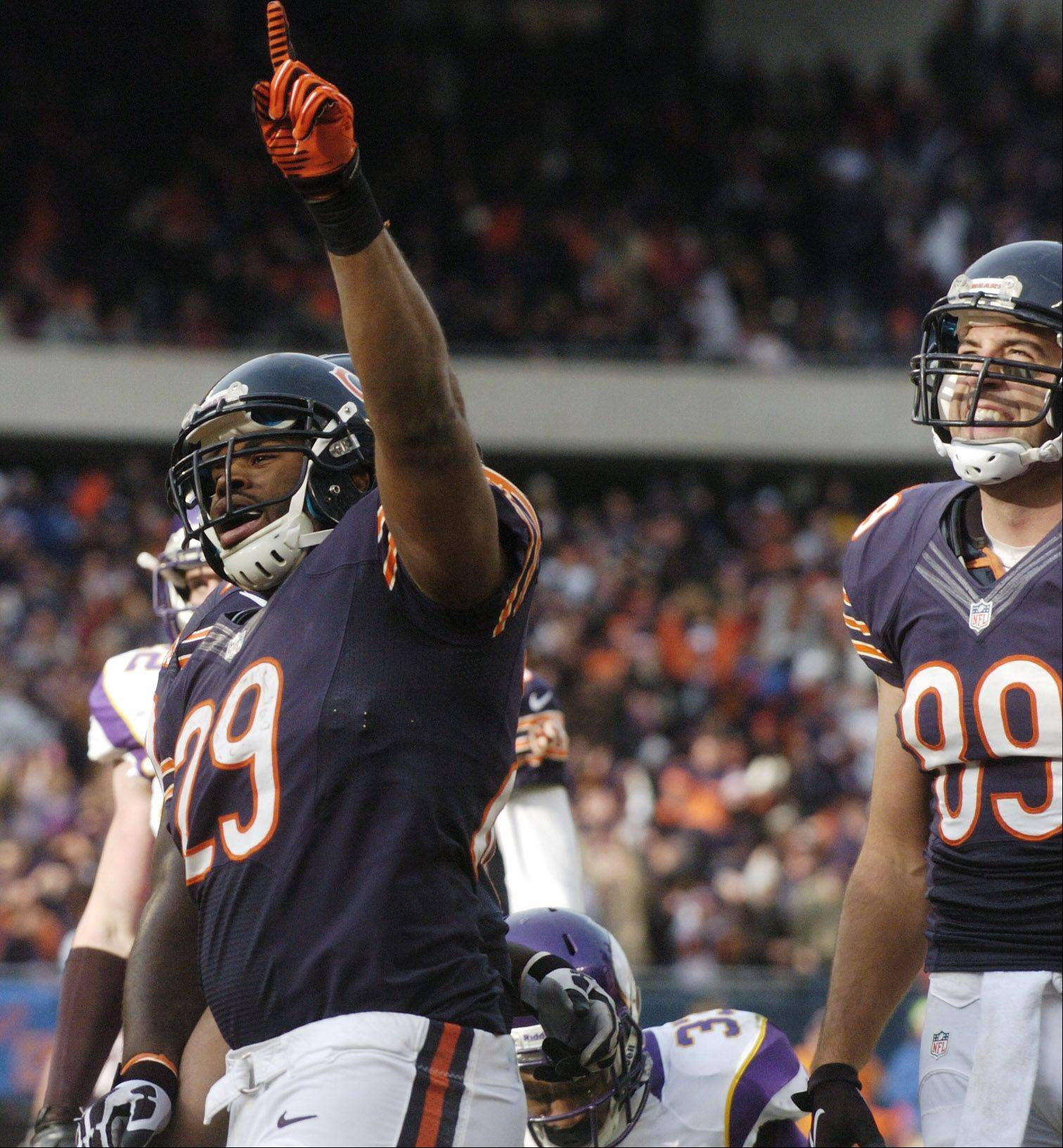 Chicago Bears running back Michael Bush celebrates his second-quarter touchdown against the Minnesota Vikings at Soldier Field Sunday.