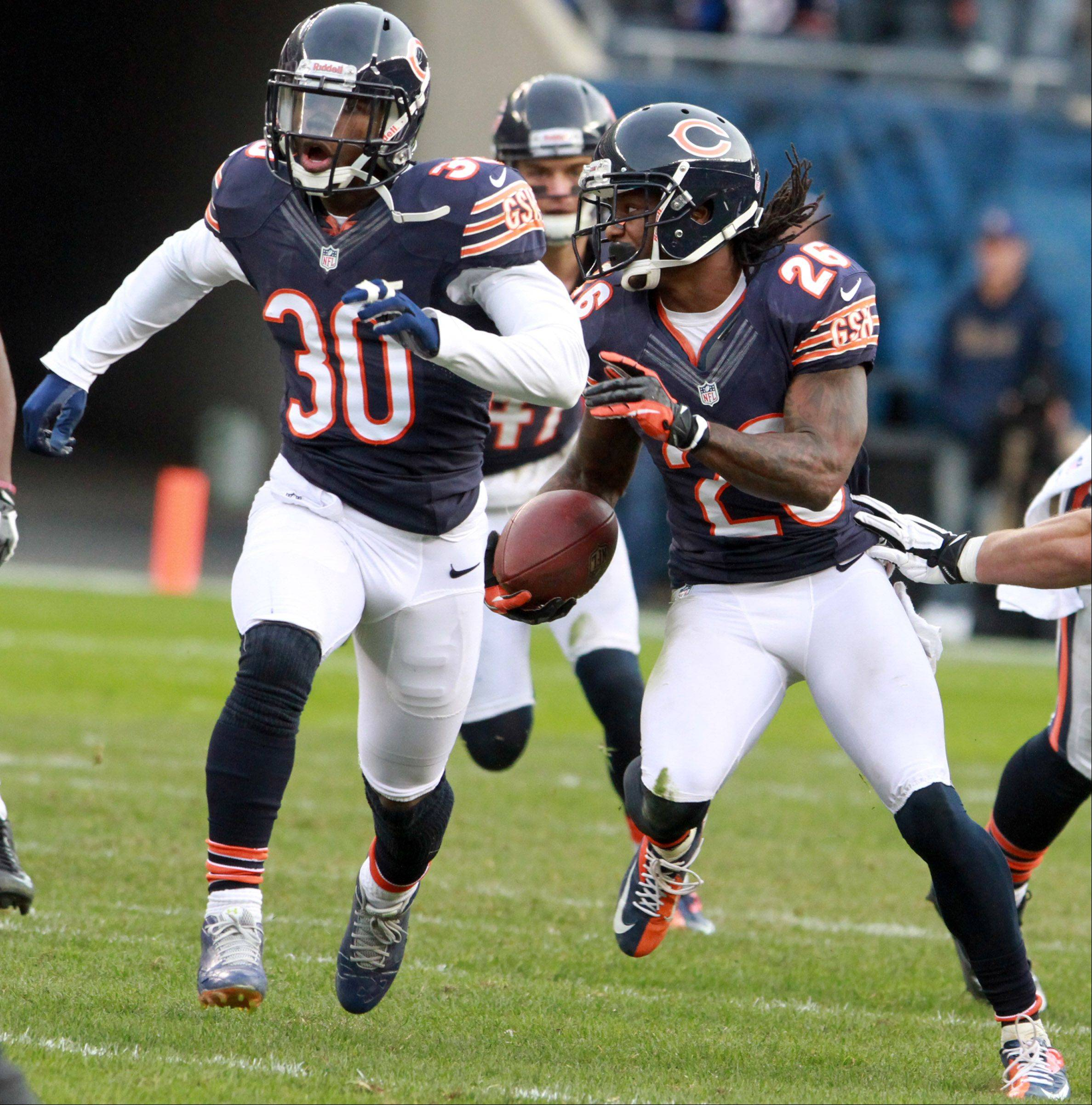 Chicago Bears cornerback Tim Jennings run the ball after intercepting a pass by Minnesota Vikings quarterback Christian Ponder at Soldier Field Sunday.
