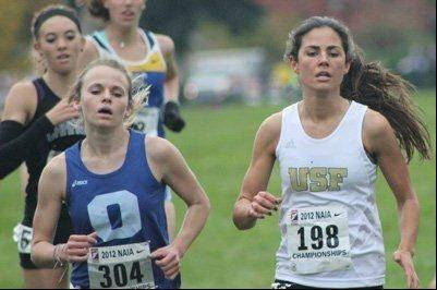 Carmel grad Hilary Halford, right, enjoyed a standout collegiate cross country season at St. Francis.