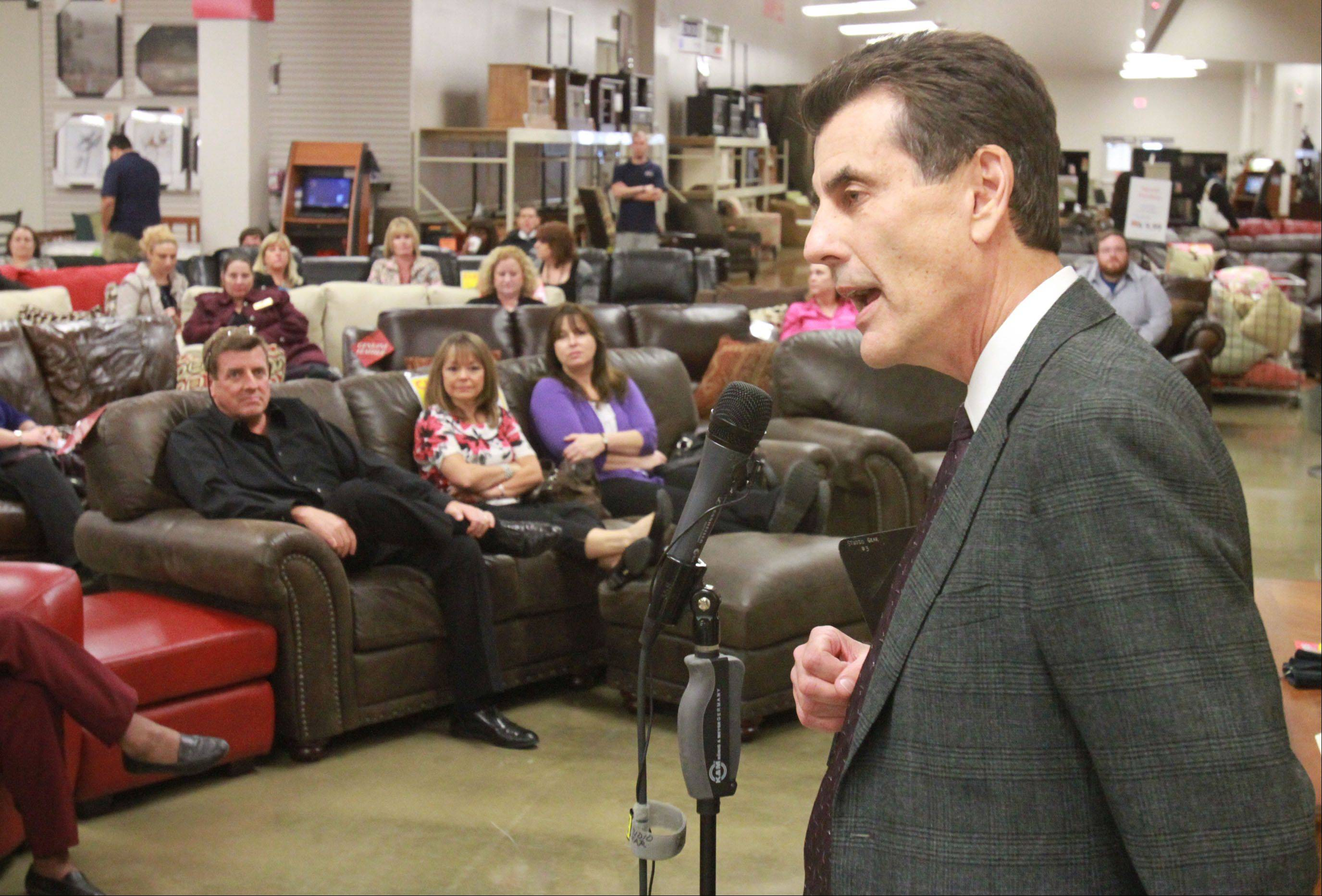 Gary Steinhafel, CEO of Steinhafels Furniture, shared stories about running a growing family-owned business at the recent Fall Business Stampede expo in Vernon Hills.