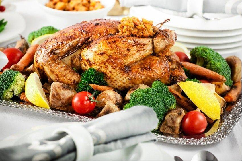 Turkey served with vegetables is a healthy way to go at the holidays.
