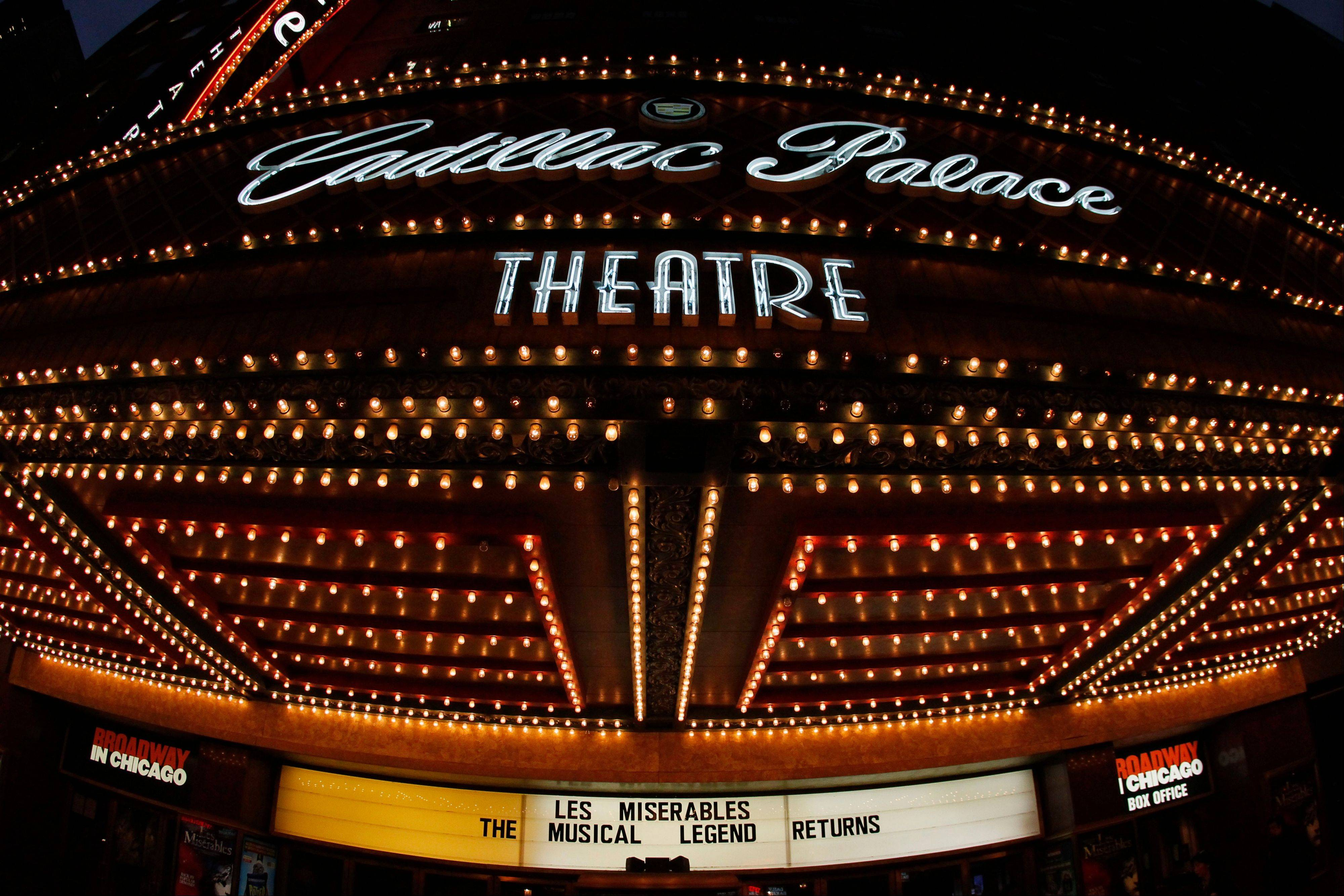 "The Cadillac Palace Theatre promotes the musical ""Les Miserables"" in the theater district in downtown Chicago."