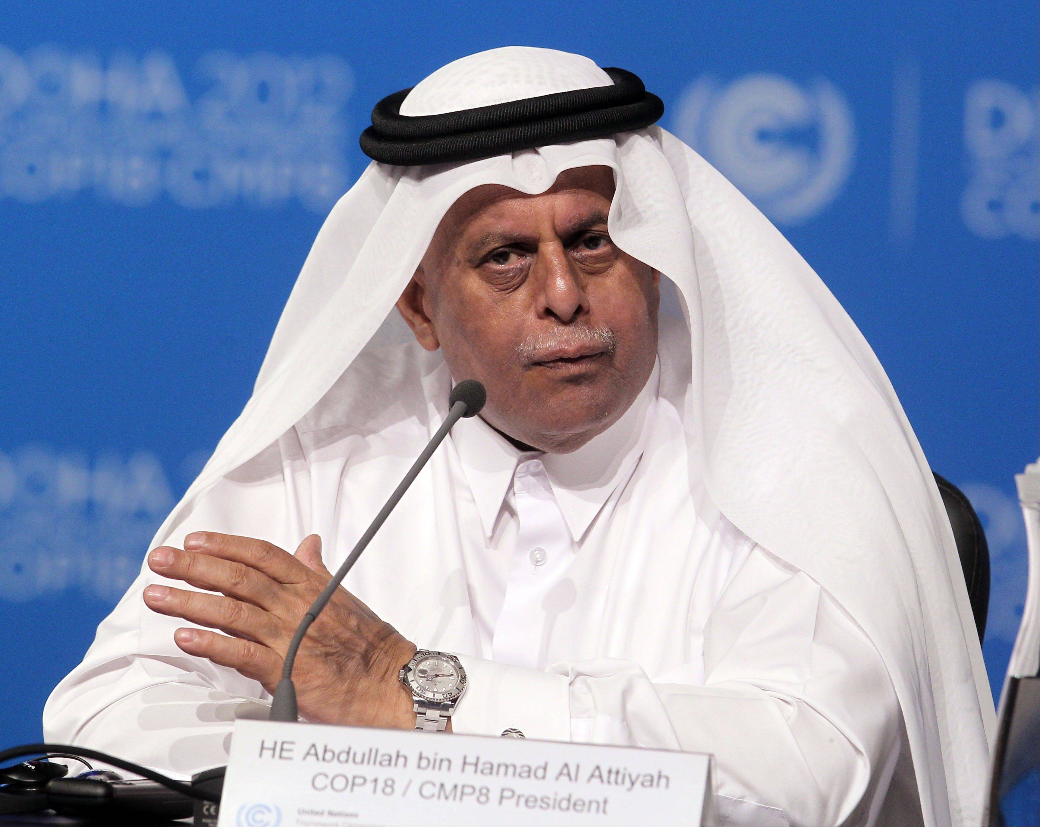Qatar's Deputy Prime Minister Abdullah bin Hamad al-Attiyah speaks at the opening session of the United Nations Climate Change conference in Doha, Qatar, Monday, Nov. 26, 2012. U.N. talks on a new climate pact resumed Monday in oil and gas-rich Qatar, where negotiators from nearly 200 countries will discuss fighting global warming and helping poor nations adapt to it.