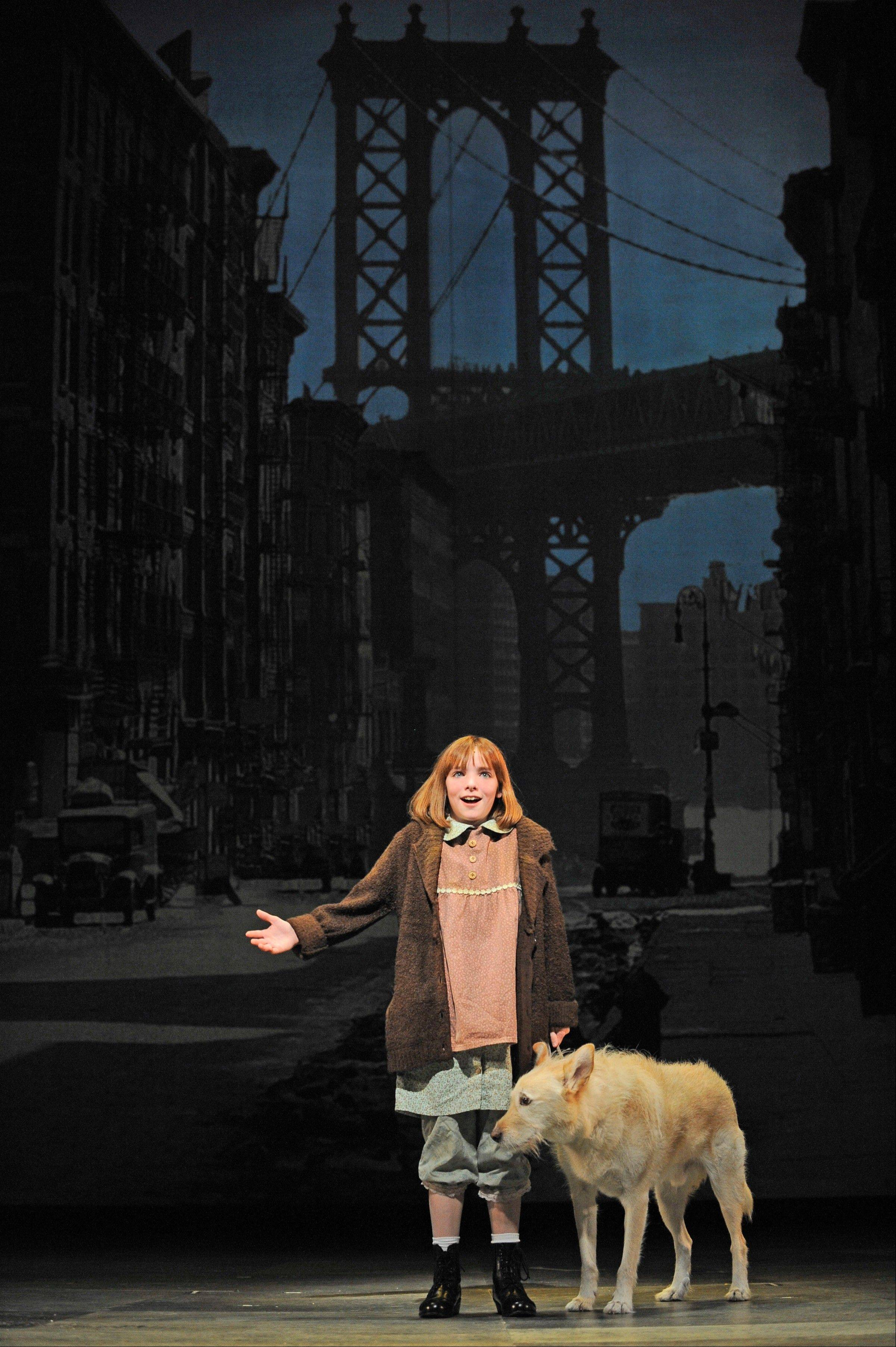 "Annie (Caroline Heffernan) sings of a better ""Tomorrow"" with the stray dog Sandy (Mikey) in a holiday production of the 1977 Broadway musical ""Annie"" at the Paramount Theatre in Aurora."