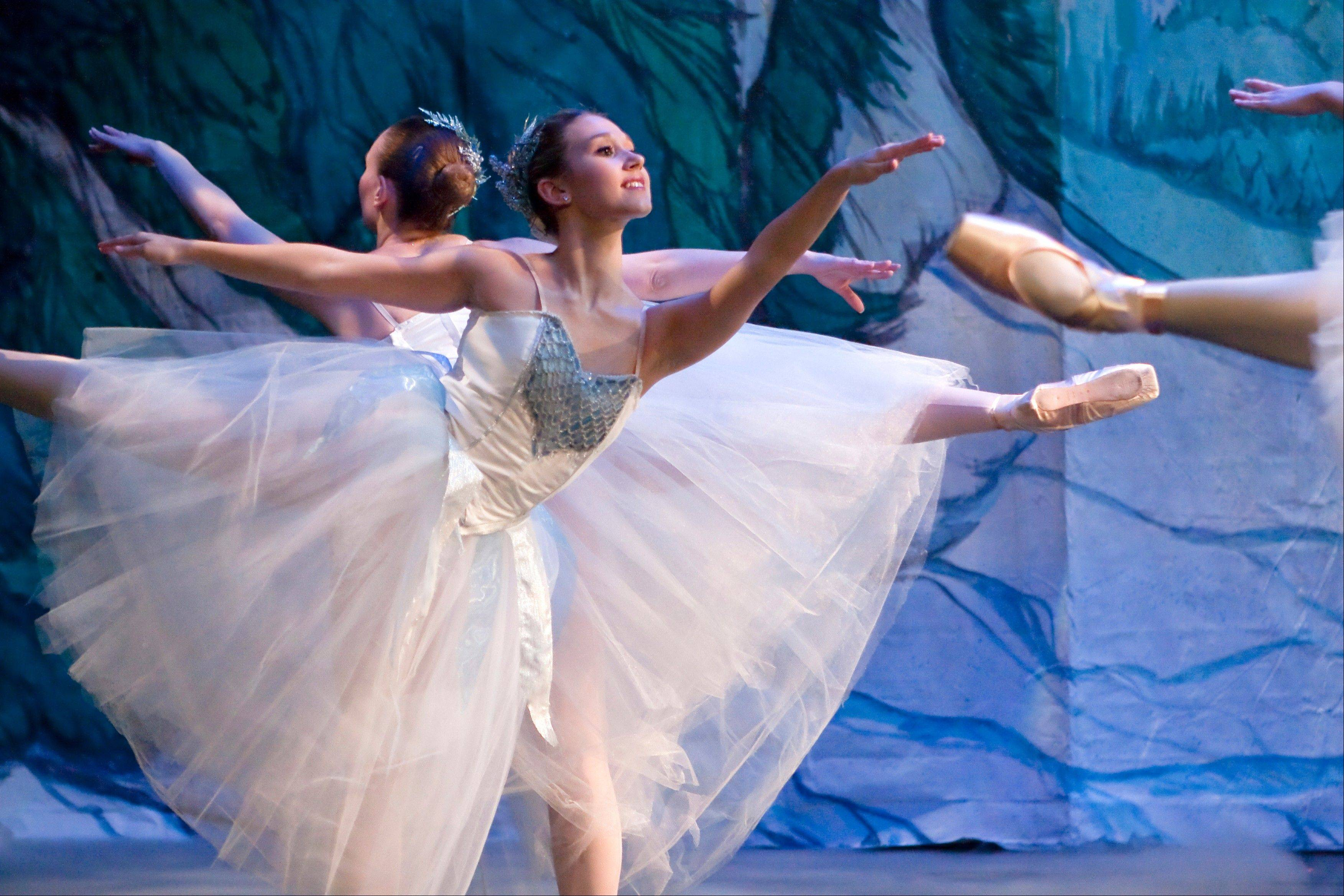 "Dancing snowflakes appear in Schaumburg Dance Ensemble's ""The Nutcracker"" at the Prairie Center for the Arts."