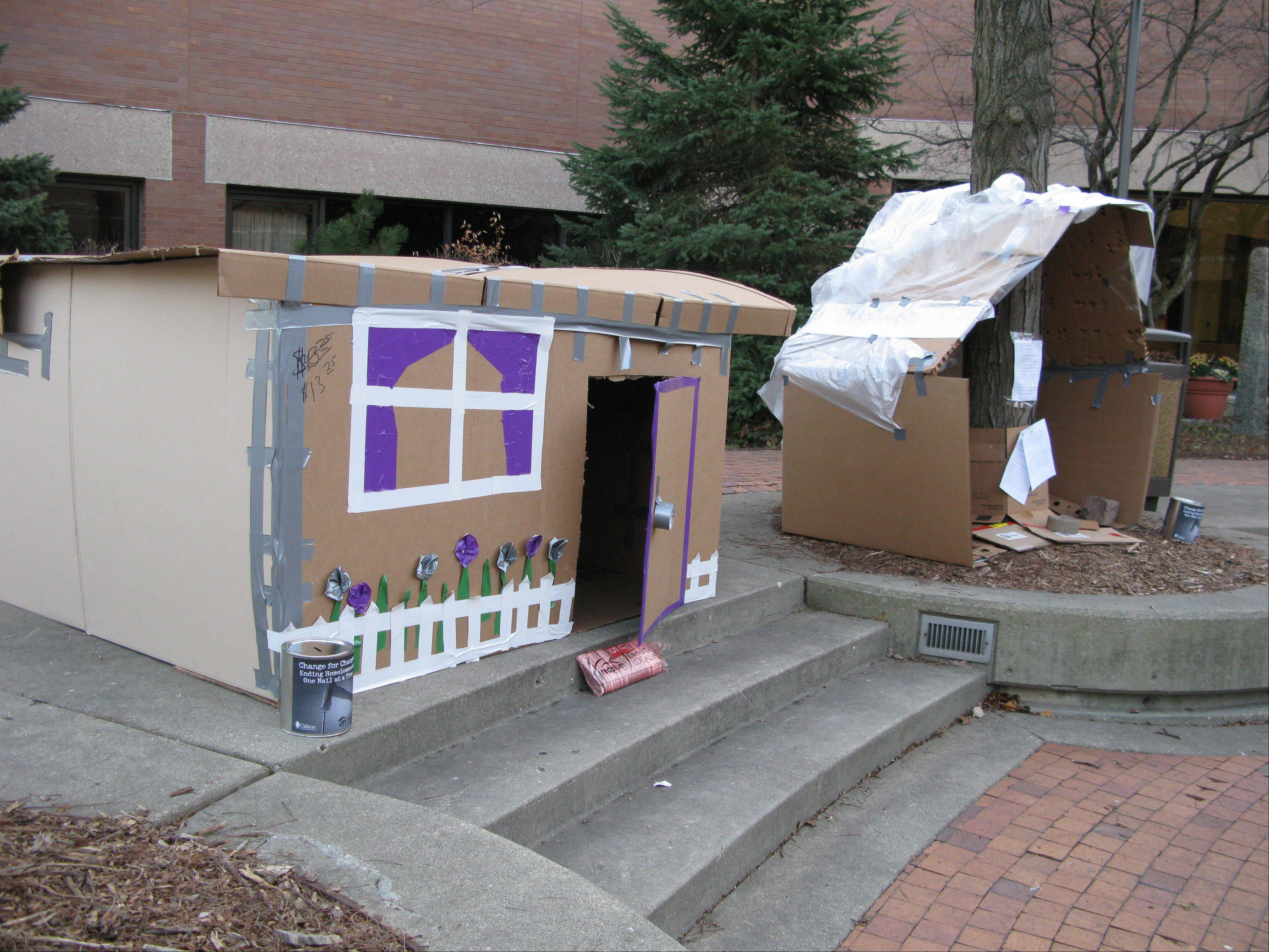 Roughly 27 Oakton Community College students stayed through the night Tuesday in shanties they built out of discarded cardboard boxes in the courtyard of the Des Plaines campus. The project was sponsored by the college's Habitat for Humanity Chapter to raise awareness about the plight of the homeless. The shanties will stay up all week as a reminder to other students.