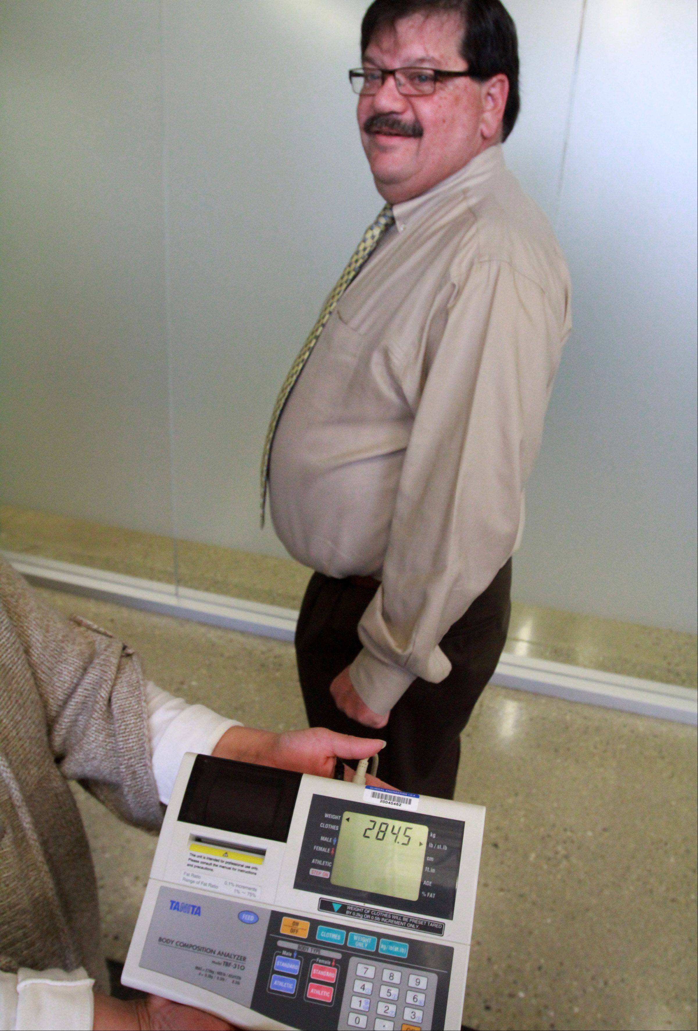 Hanover Park Mayor Rod Craig weighed in at 284.5-pounds during the final day of an eight-week weight loss challenge with Carol Stream Village President Frank Saverino. That's 20 pounds less than when the contest began.