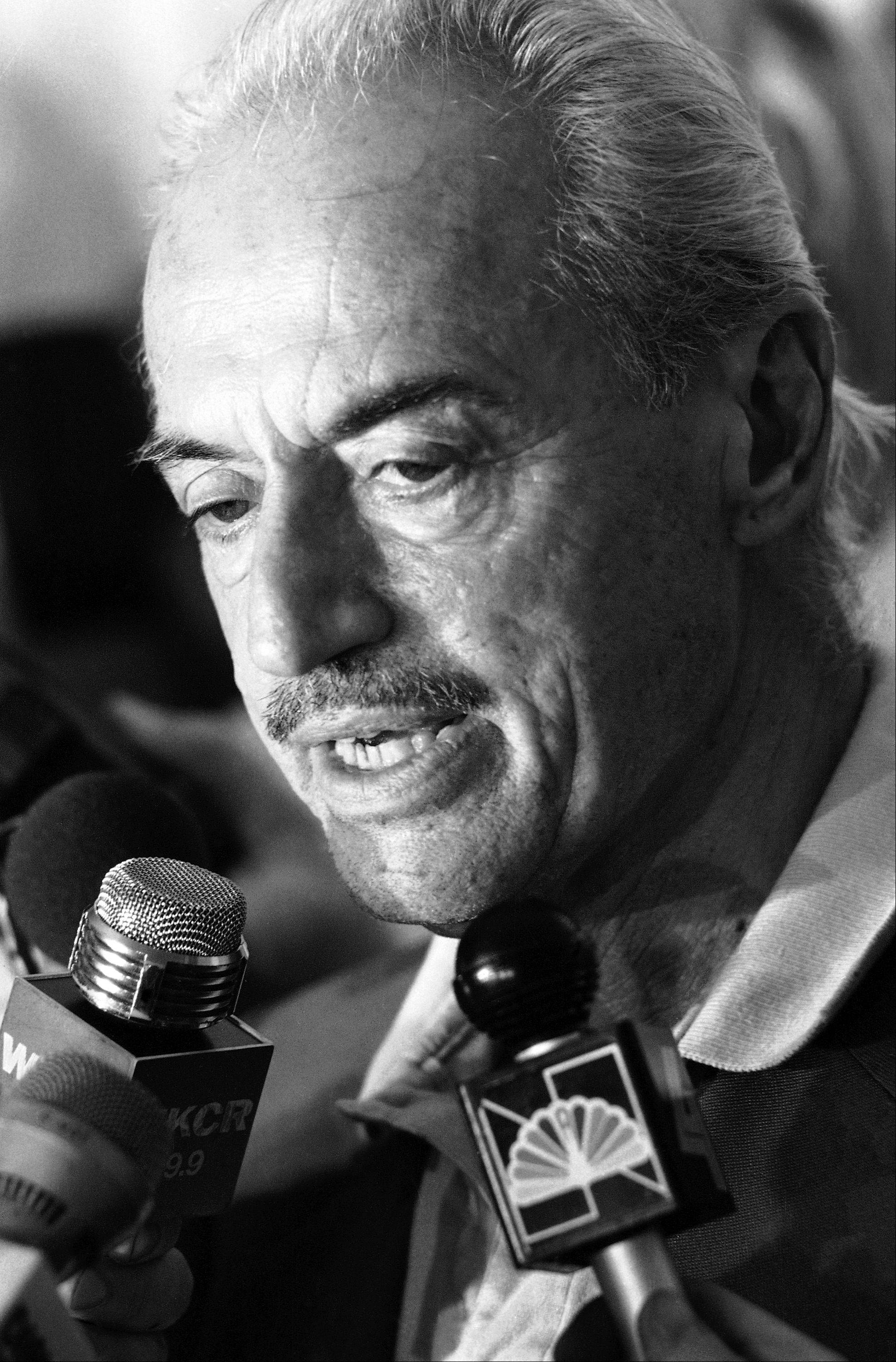 This July 31, 1981 file photo shows Marvin Miller talking to reporters at the Doral Inn in New York. Miller, the union leader who created free agency for baseball players and revolutionized professional sports with multimillion dollar contracts, died Tuesday, Nov. 27, 2012 in New York. He was 95.