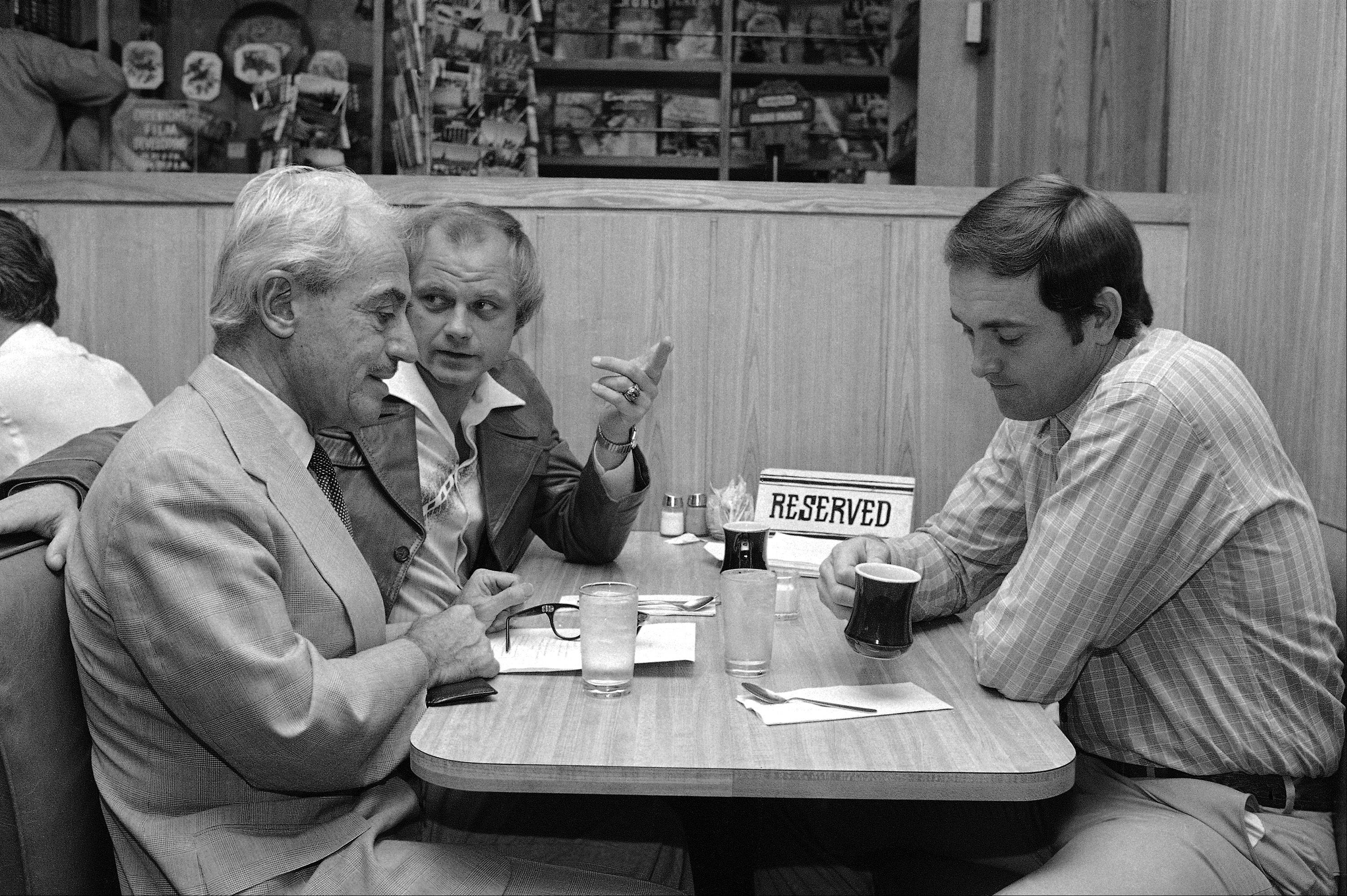 This May 22, 1980 file photo shows Marvin Miller, left, talking with Houston Astro players Joe Niekro, center and Nolan Ryan at a coffee shop prior to labor negotiations in New York. Miller, the union leader who created free agency for baseball players and revolutionized professional sports with multimillion dollar contracts, died Tuesday, Nov. 27, 2012 in New York. He was 95.