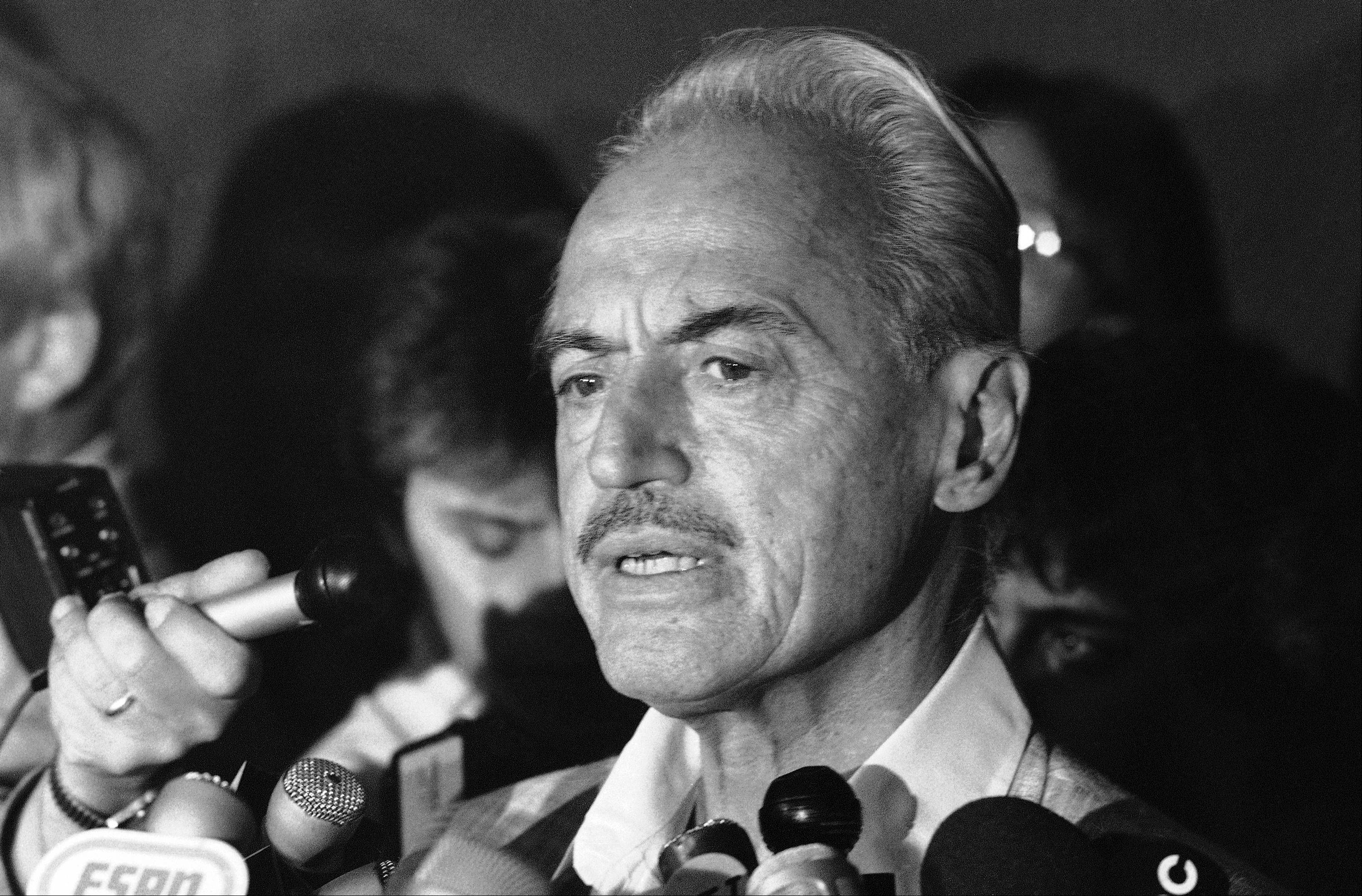 This July 16, 1981 file photo shows baseball union leader Marvin Miller speaking to reporters after rejecting a proposal to end a baseball strike, in New York. Miller died Tuesday in New York. He was 95.