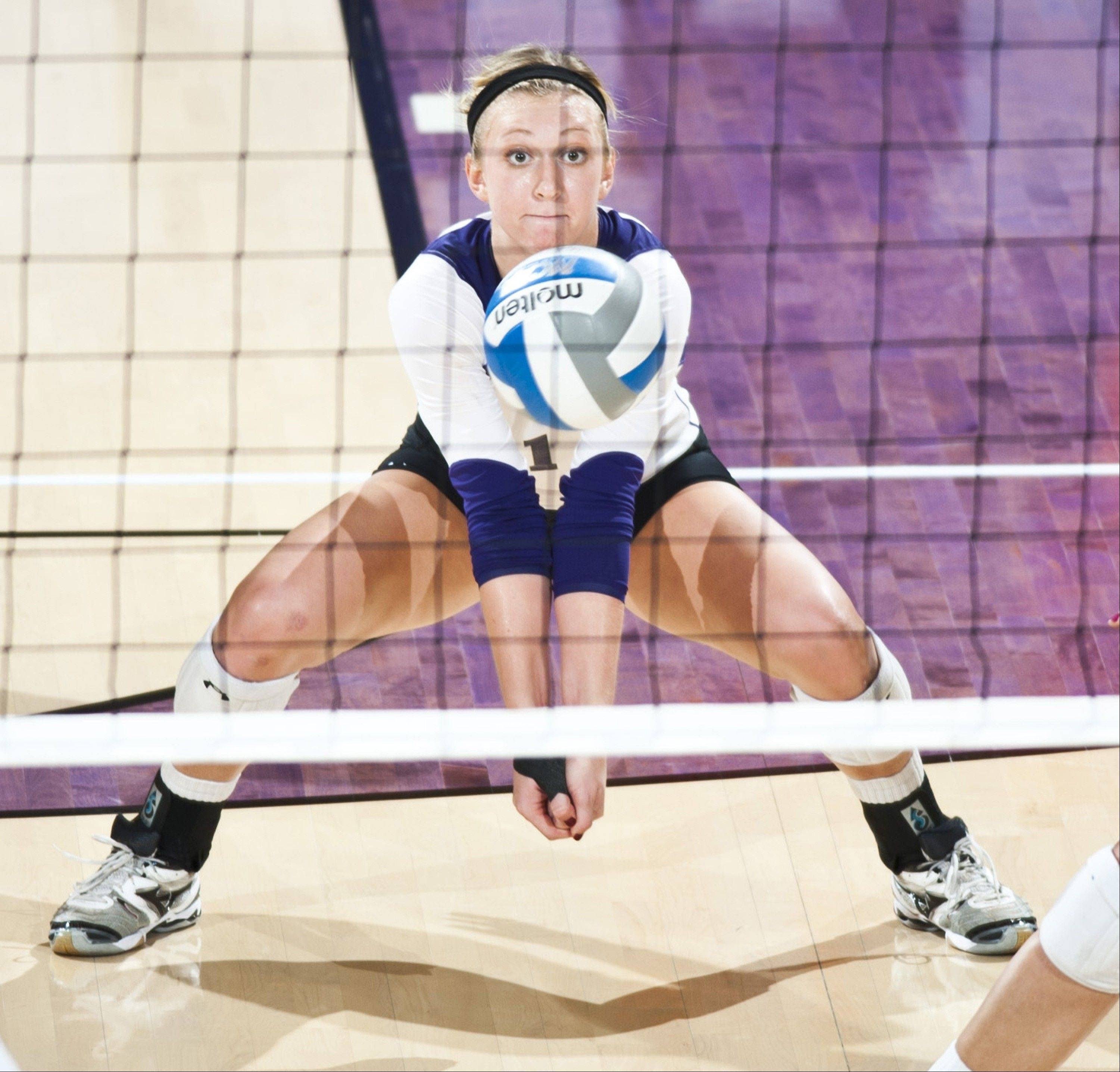 Northwestern outside hitter Stephanie Holtus of Burlington Central earned All-Big Ten First Team honors for the second straight season, and was her team's MVP in four tournaments.