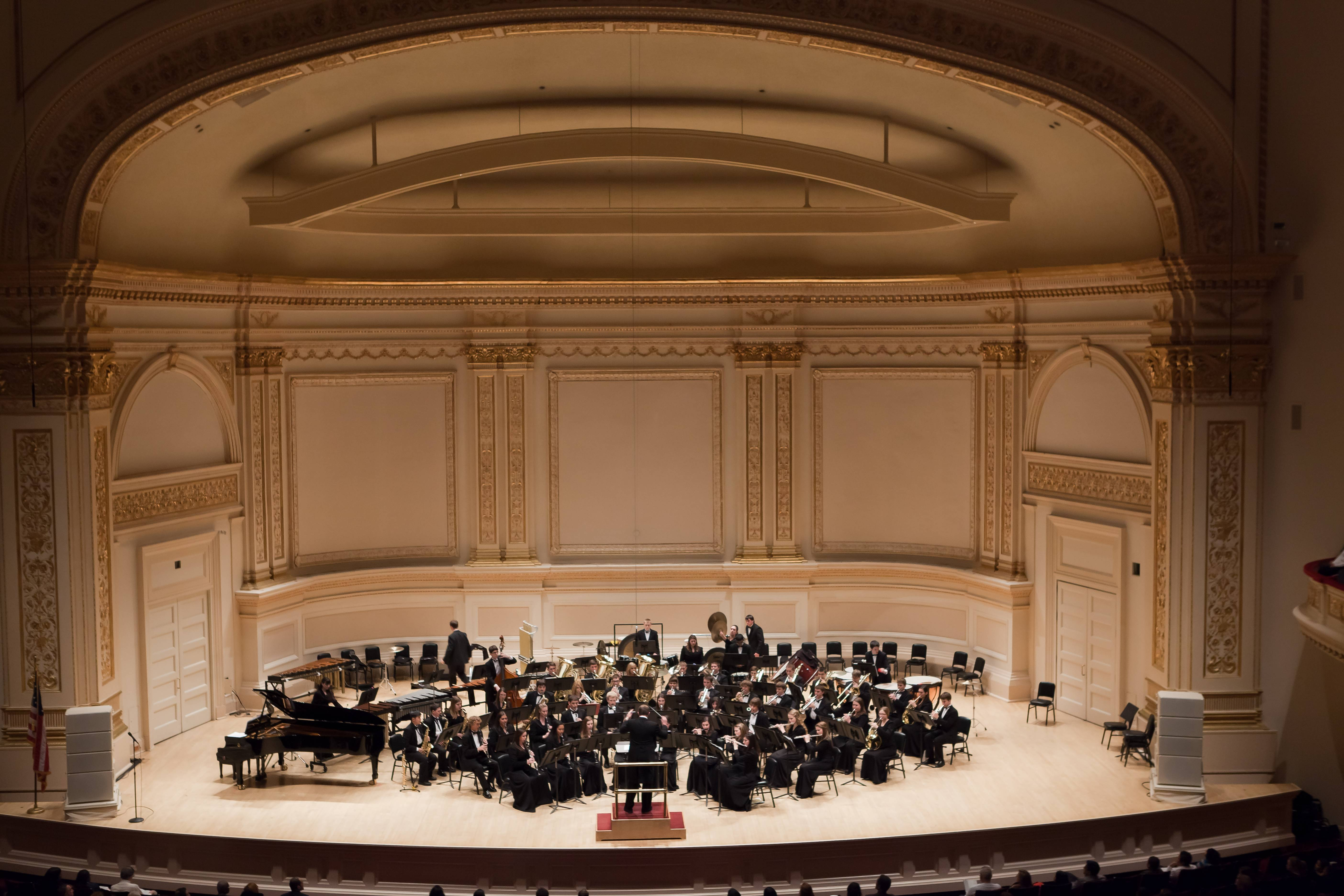 The Hersey High School Symphonic Band performs at Carnegie Hall.