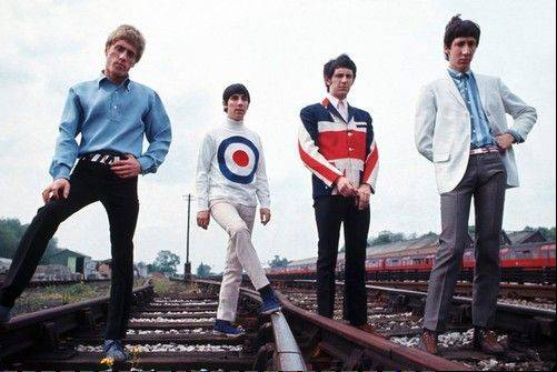 1965, Paris, France --- British band members of ��The Who,� lead singer Roger Daltrey, drummer Keith Moon, bass player John Entwistle and guitarist Pete Townshend. ---