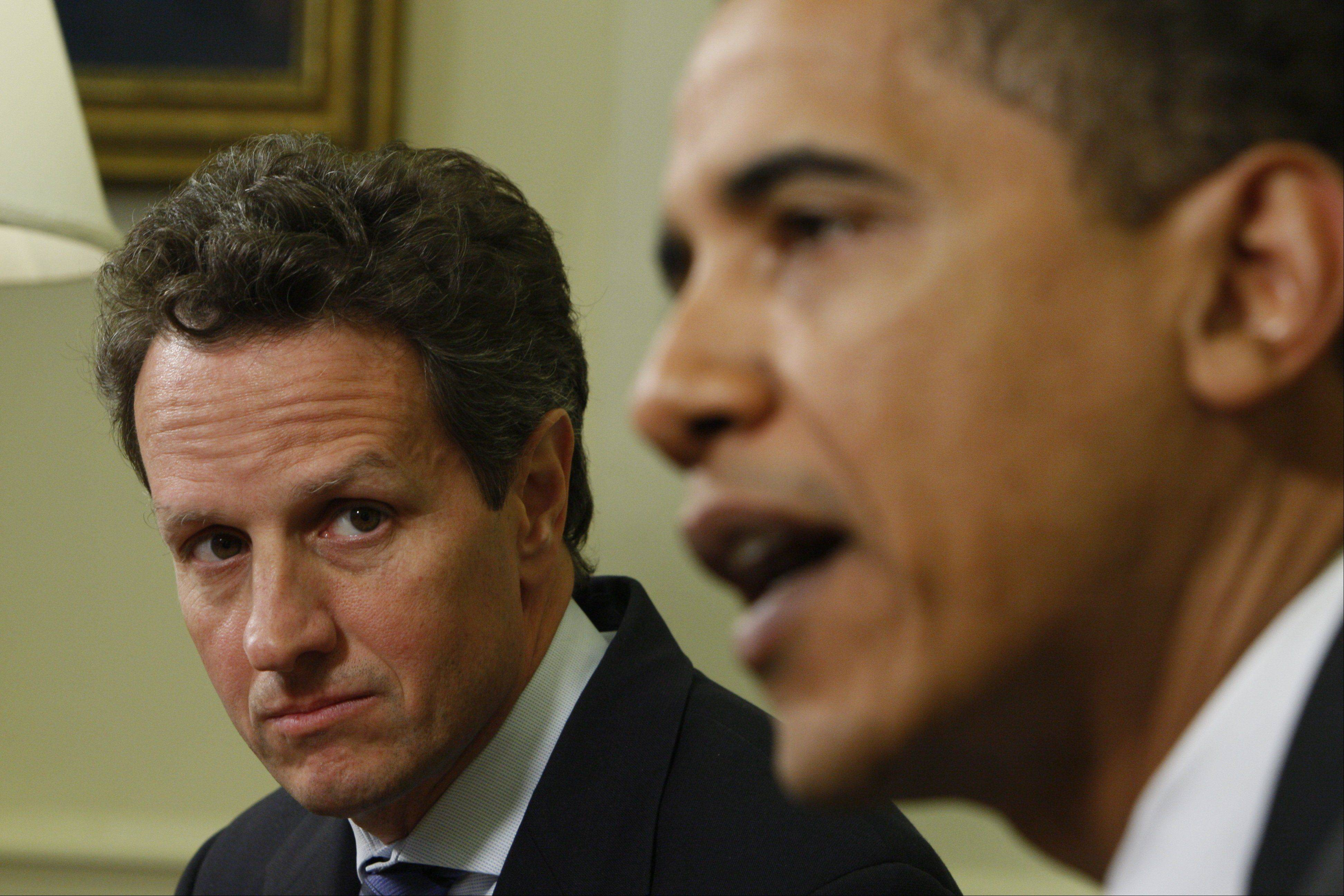 Treasury Secretary Tim Geithner, seen here, and White House legislative chief Rob Nabors will meet Thursday with House Speaker John Boehner, Senate Republican leader Mitch McConnell, Senate Majority Leader Harry Reid and House Democratic leader Nancy Pelosi of Californiato discuss negotiations to avoid the fiscal cliff.