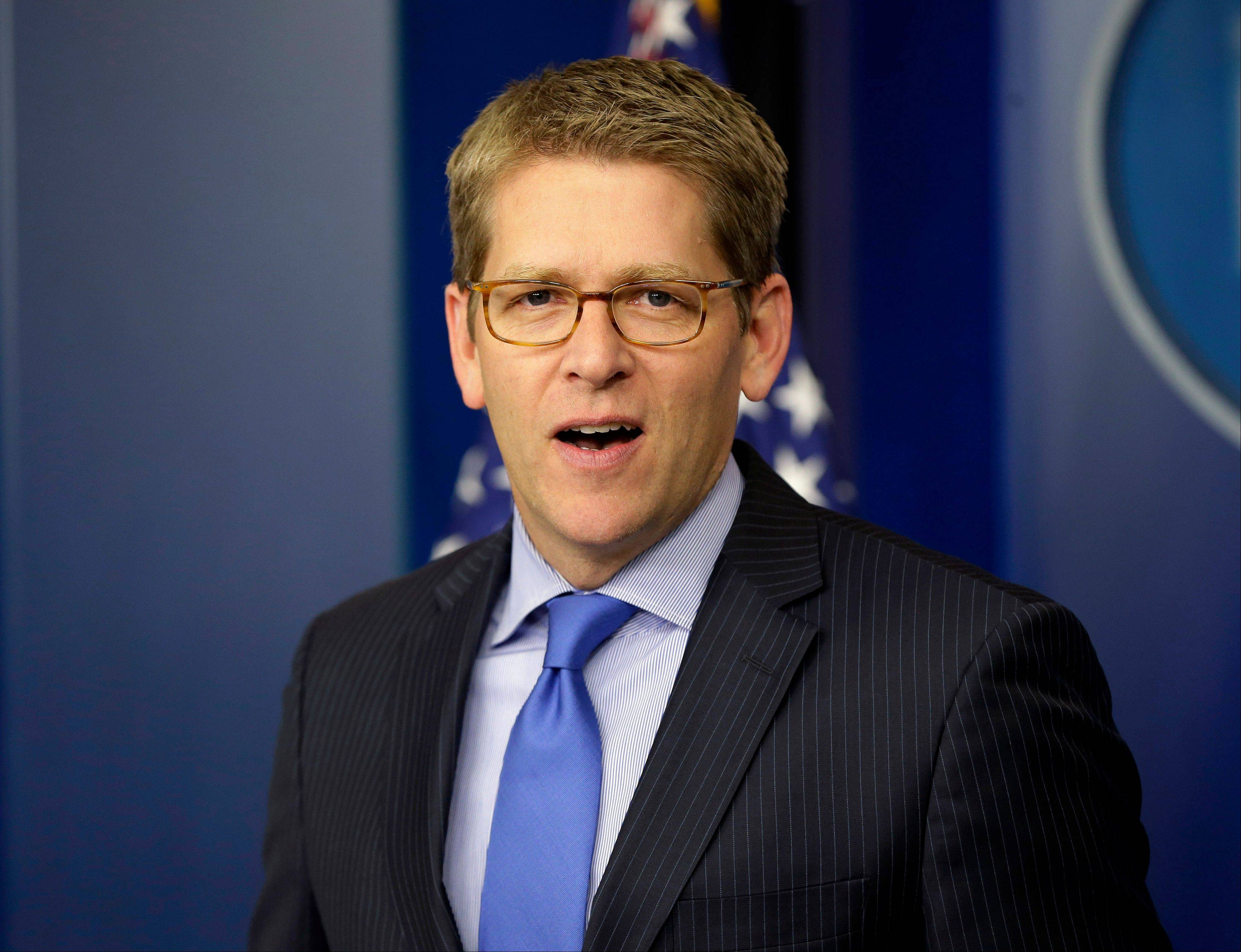 White House press secretary Jay Carney speaks during his daily news briefing at the White House in Washington. Senate Democrats are deeply divided over whether cuts to popular benefit programs like Medicare and Medicaid should be part of a plan to address the nation�s financial problems. �It is the president�s position that when we�re talking about a broad, balanced approach to dealing with our fiscal challenges, that that includes dealing with entitlements,� Carney said Tuesday.