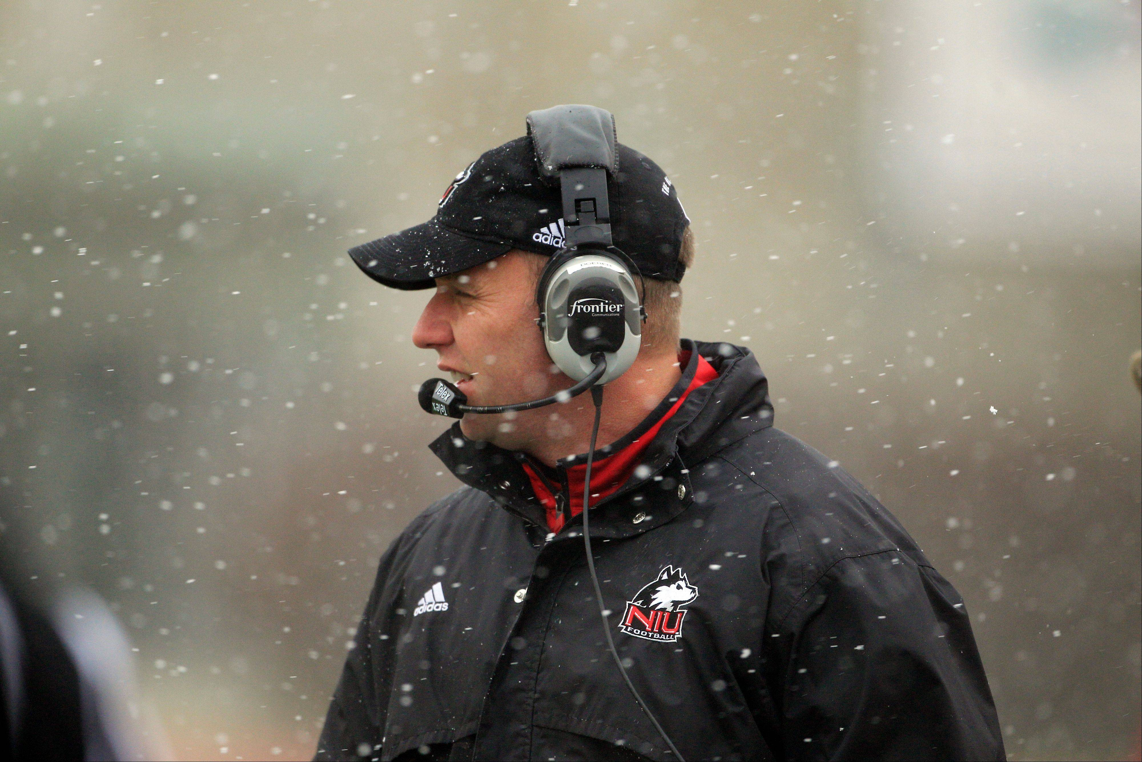 Northern Illinois head coach Dave Doeren watches from the sidelines during the second quarter of an NCAA college football game against Eastern Michigan in Ypsilanti, Mich., Friday, Nov. 23, 2012. (AP Photo/Carlos Osorio)