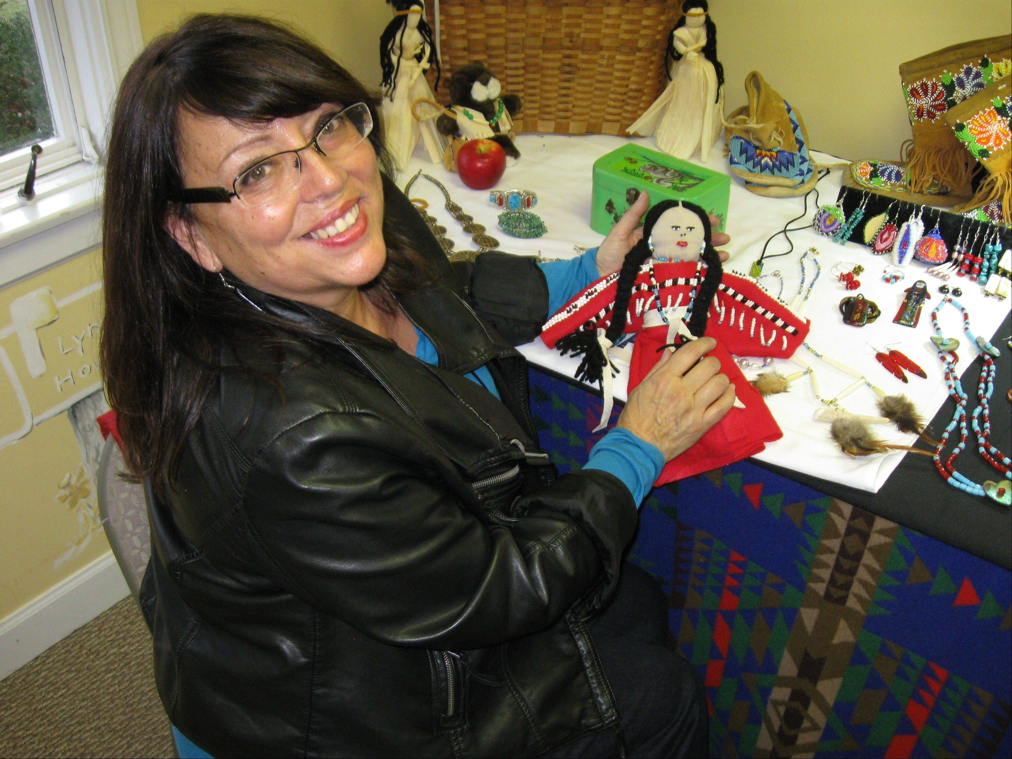 Native American artist Patricia Gardner is one of the Midwestern artists displaying and selling crafts at the Mitchell Museum of the American Indian's Native Arts Holiday Bazaar.