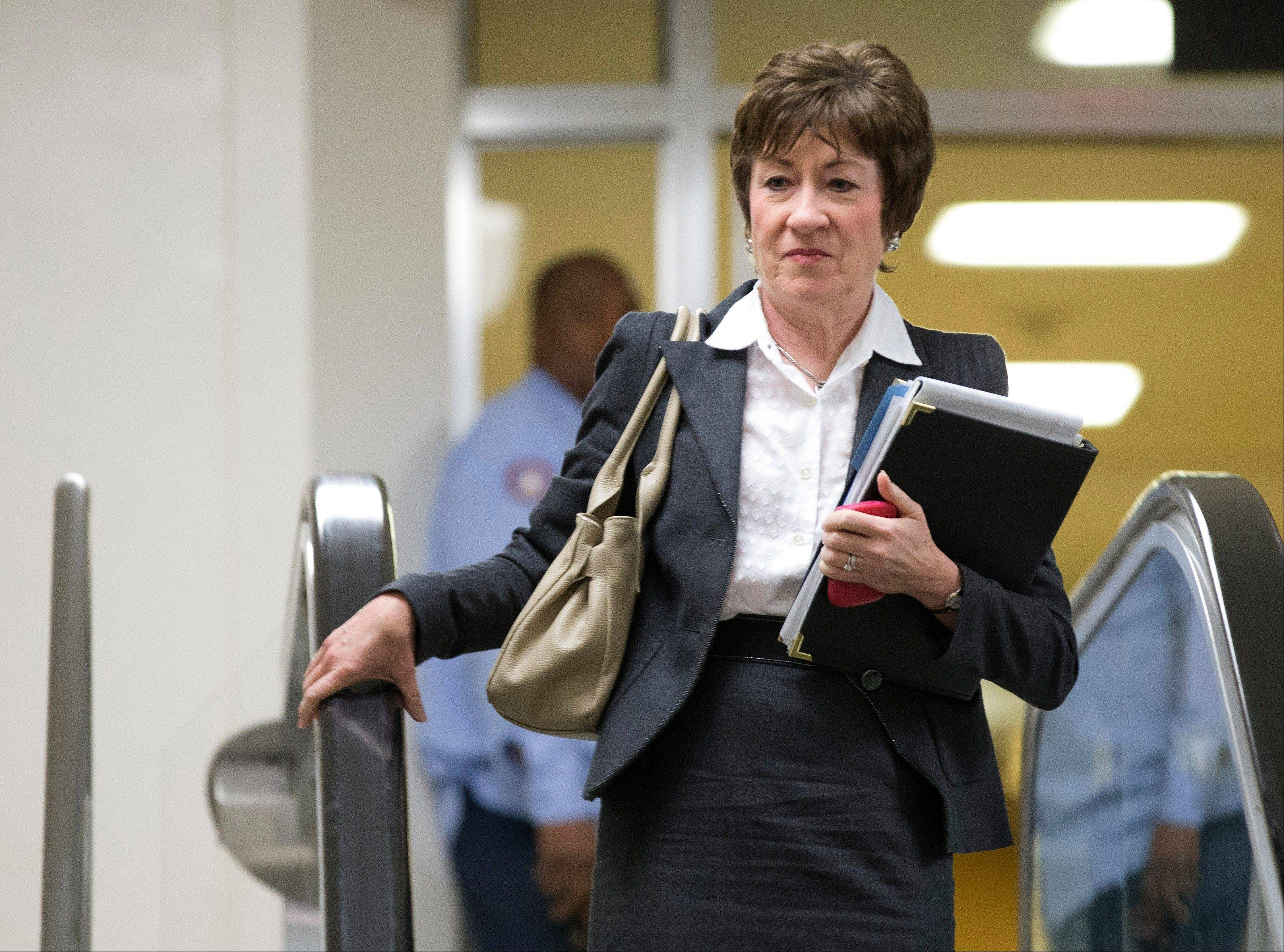 Sen. Susan Collins, R-Maine, ranking Republican on the Senate Homeland Security and Governmental Affairs Committee walks to a meeting on Capitol Hill in Washington, Wednesday, Nov. 28, 2012, for a meeting with UN Ambassador Susan Rice. Rice continued her fight Wednesday to win over skeptics in the Senate who could block her chances at becoming the next U.S. secretary of state.