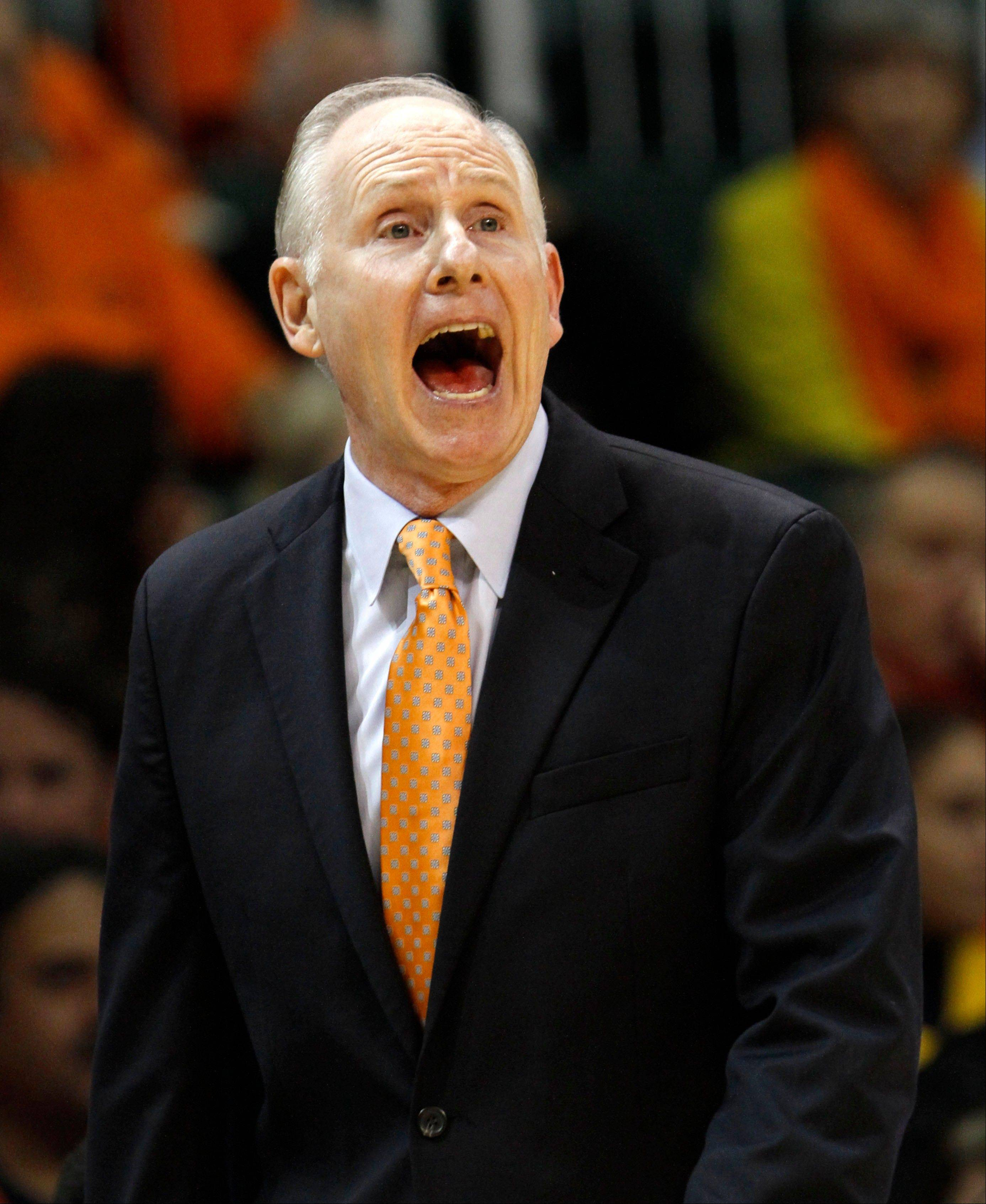 Miami head coach Jim Larranaga disagrees with an official's call Wednesday during the first half against Michigan State in Coral Gables, Fla.