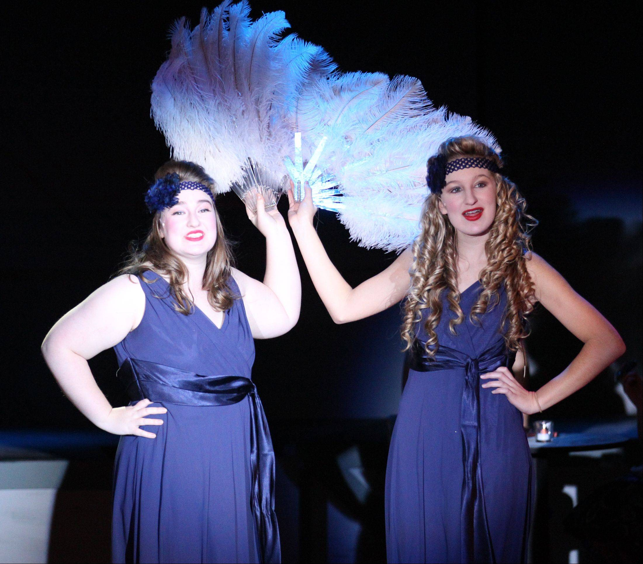 "Leads Sara Caligiuri and Rebekah Goering portray Betty and Judy Haynes in the Marmion Academy/Rosary High School production of ""White Christmas."""