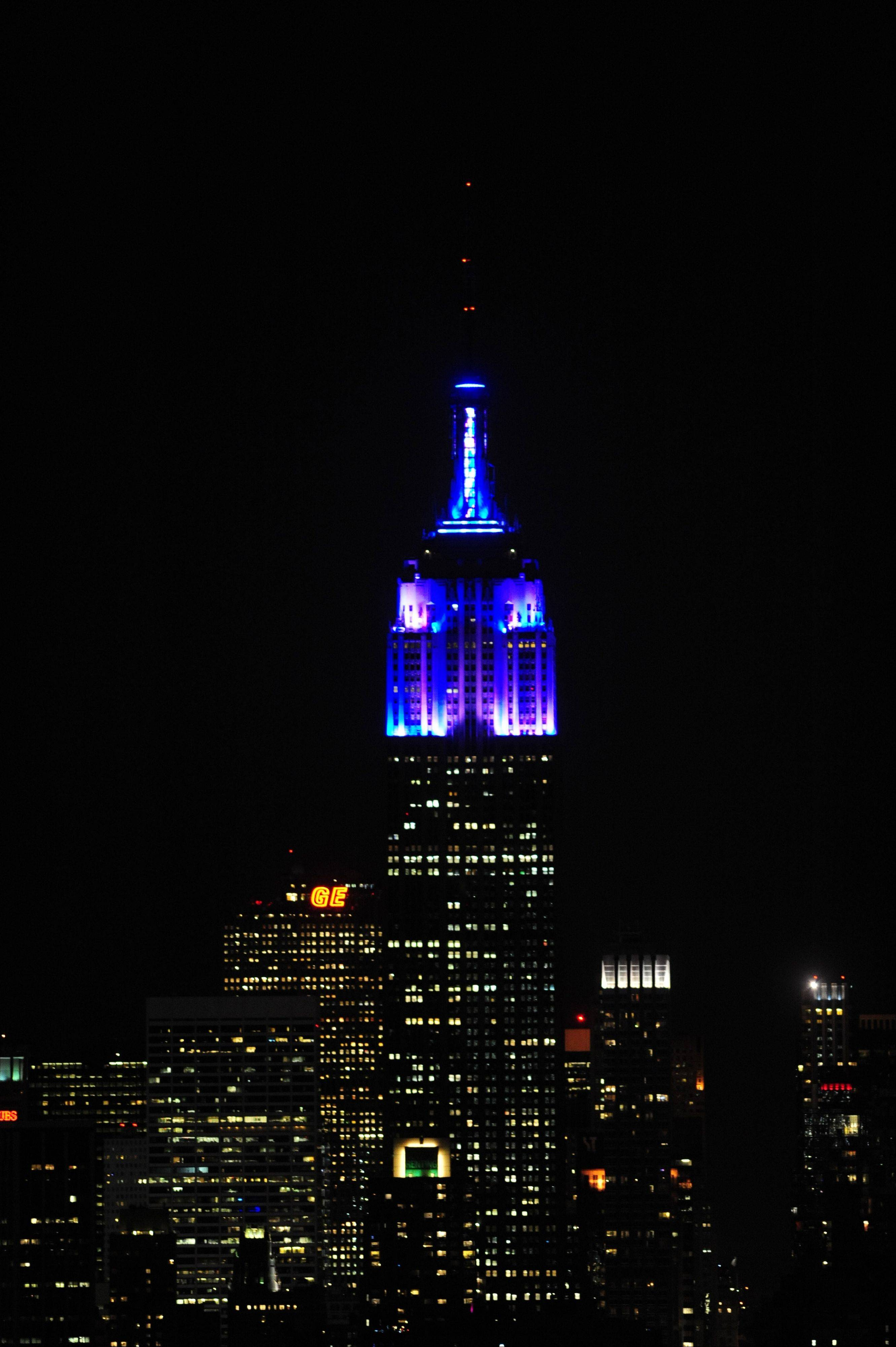 Associated Press The top floors of New York�s Empire State Building are lit in blue and white light after being switched on by R&B star Alicia Keys. The landmark boasts a new LED lighting system with a palette of more than 16 million colors in limitless combinations.