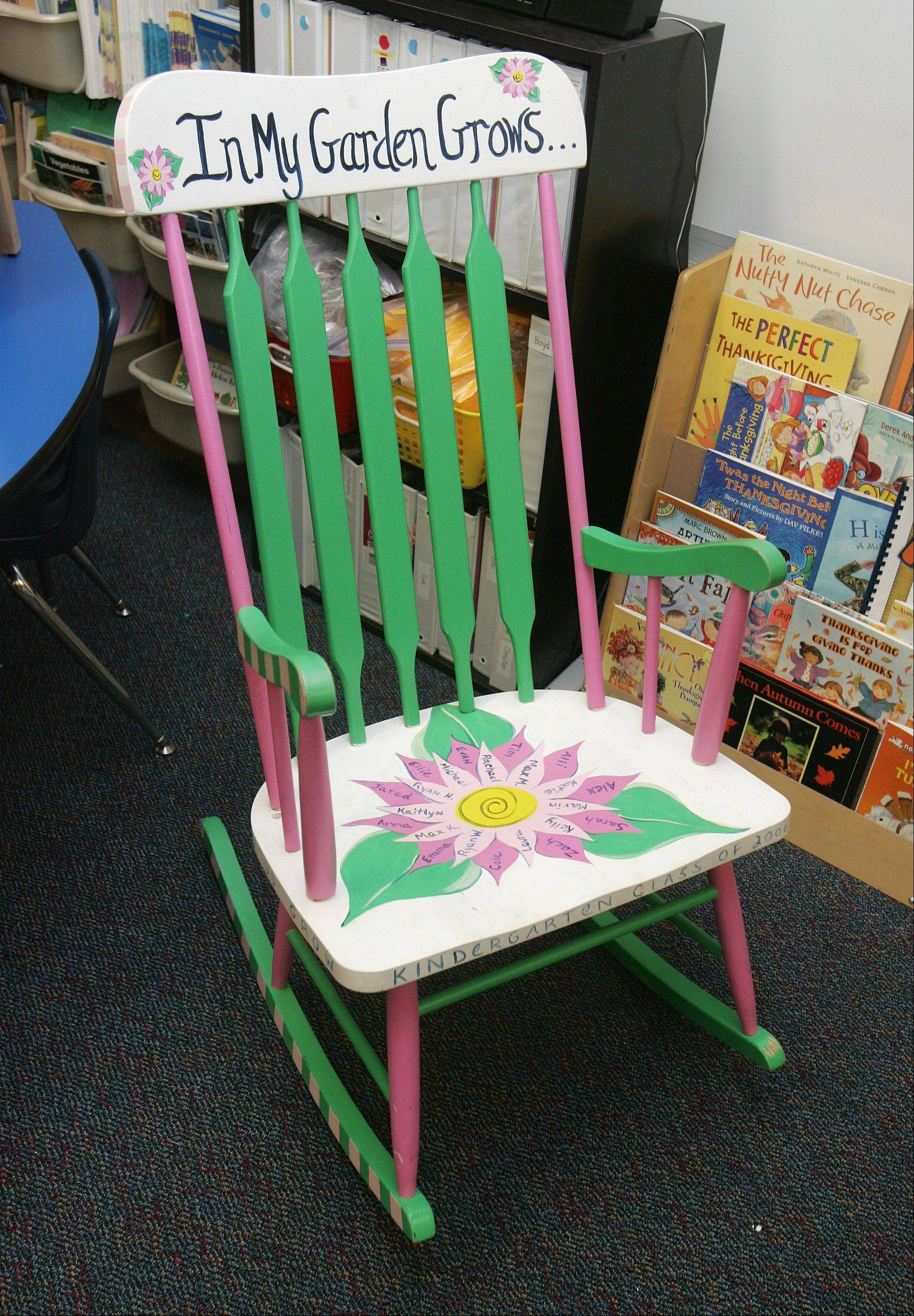 Rocking chair given to kindergarten teacher Maureen Rogers by a student for the holiday season at Butterfield School in Libertyville.