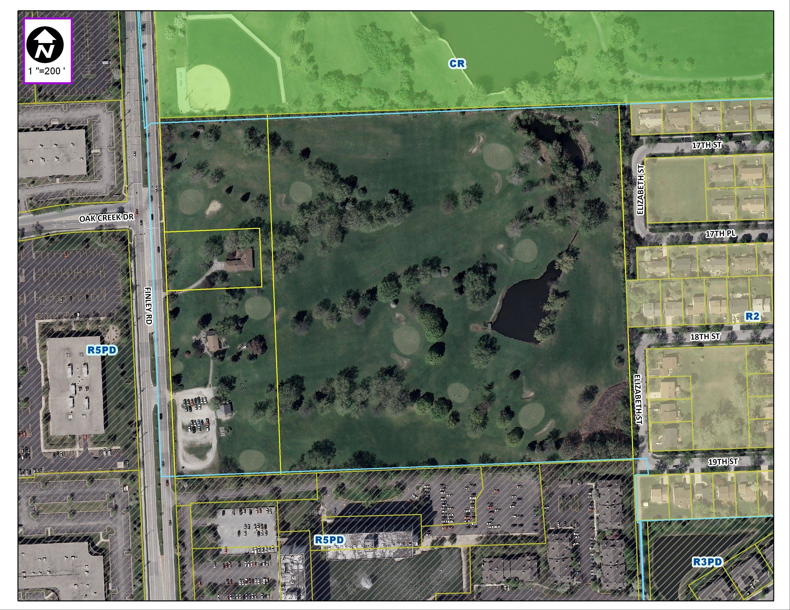 The Ken-Loch golf links near Lombard, shown as the dark color from an aerial view, is for sale and a prospective buyer wants to build apartments and for-sale units on the land.